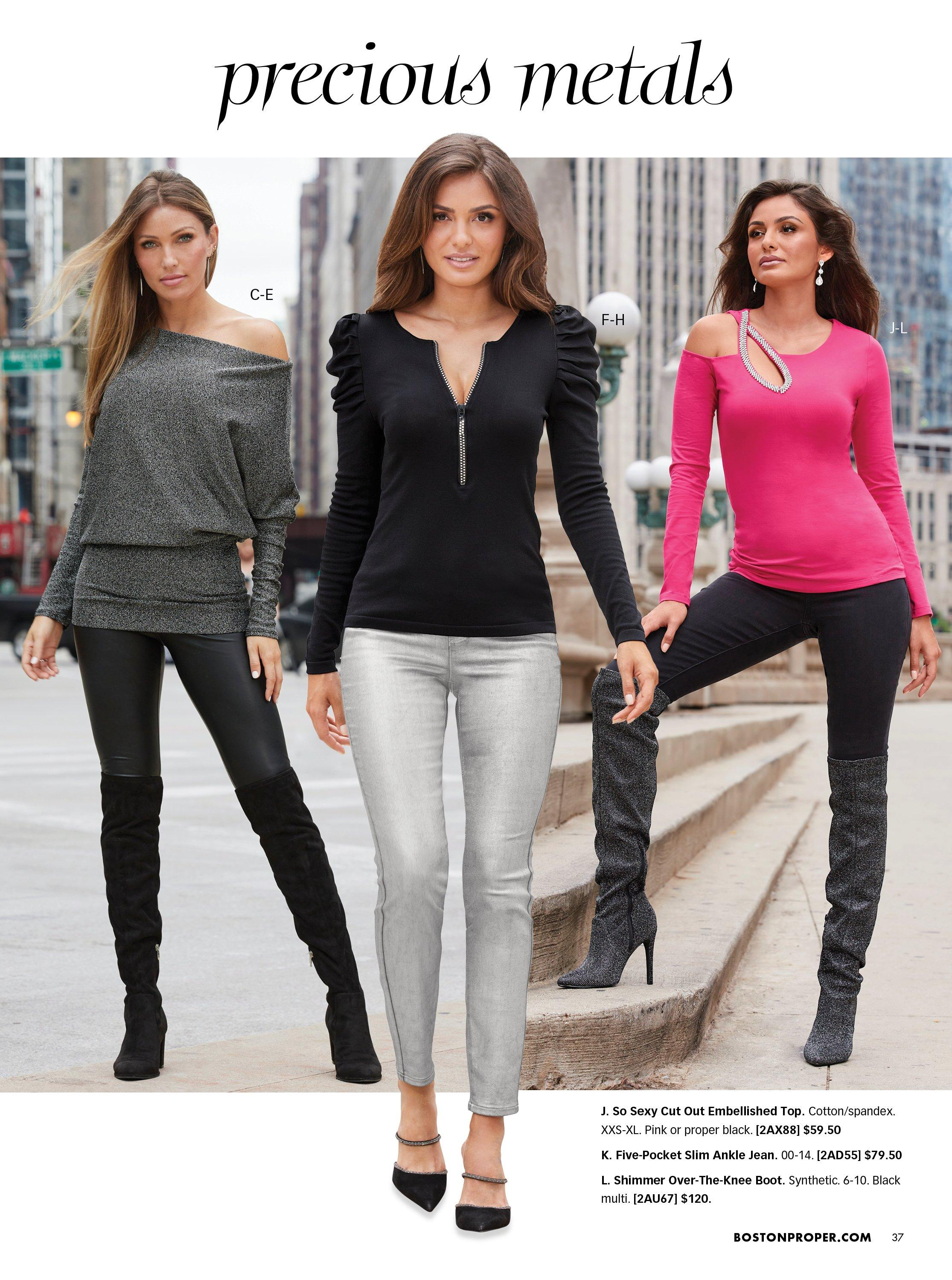 left model wearing a gray metallic off-the-shoulder banded top, black faux-leather leggings, and black over-the-knee boots. middle model wearing a black puff-sleeve quarter zip top, silver metallic coated jeans, and black heeled mule shoes. right model wearing a pink long-sleeve cutout with silver rhinestone embellishments, black pants, and shimmer black over-the-knee boots.