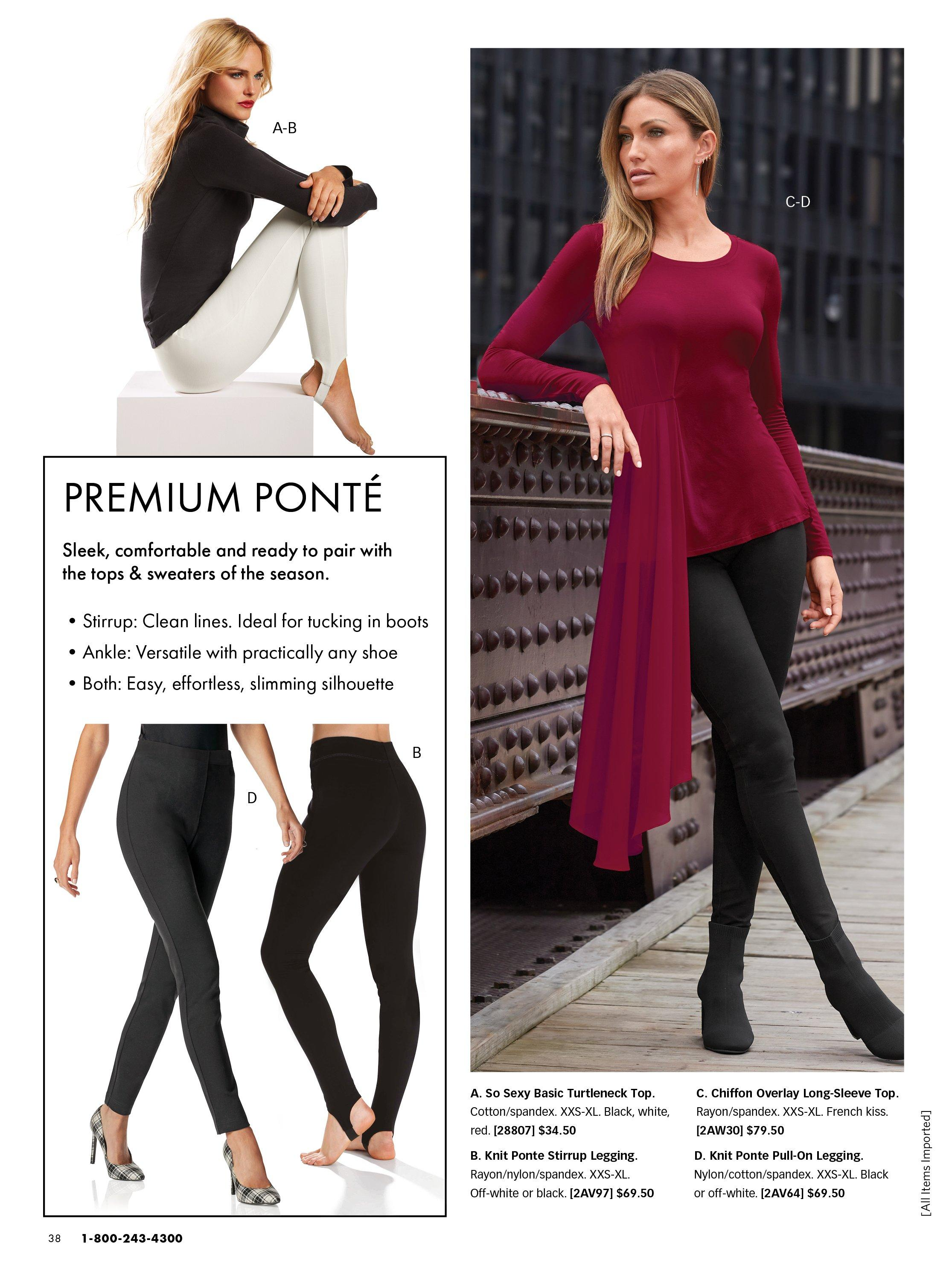 top left model wearing white stirrup ponte leggings and a black turtleneck long-sleeve top. bottom right panel shows black ponte leggings and black stirrup ponte leggings. right model wearing a red long-sleeve chiffon overlay top, black ponte leggings, and black heeled booties.