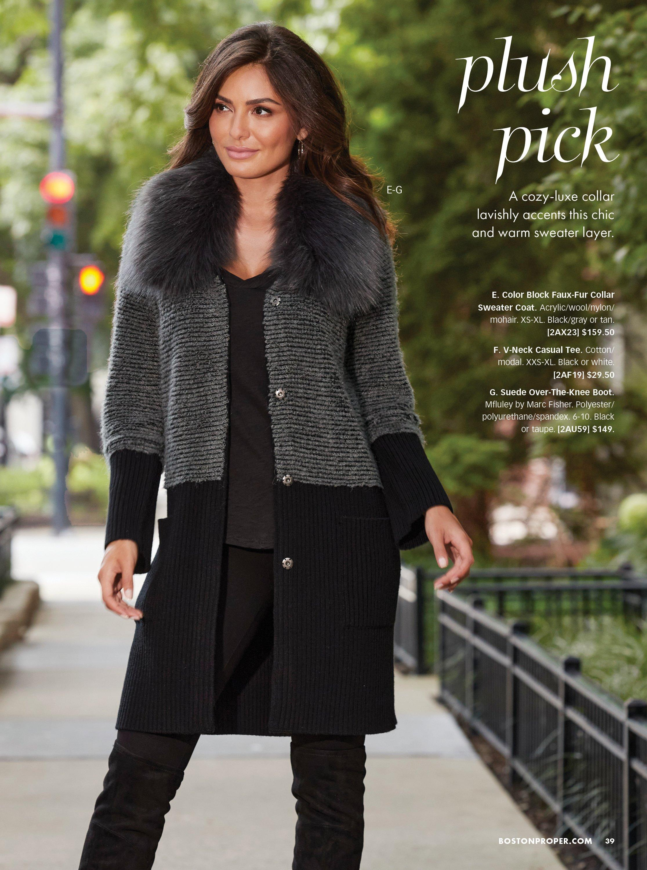 model wearing a gray and black color block faux fur sweater coat, black tank top, black pants, and black over-the-knee boots.