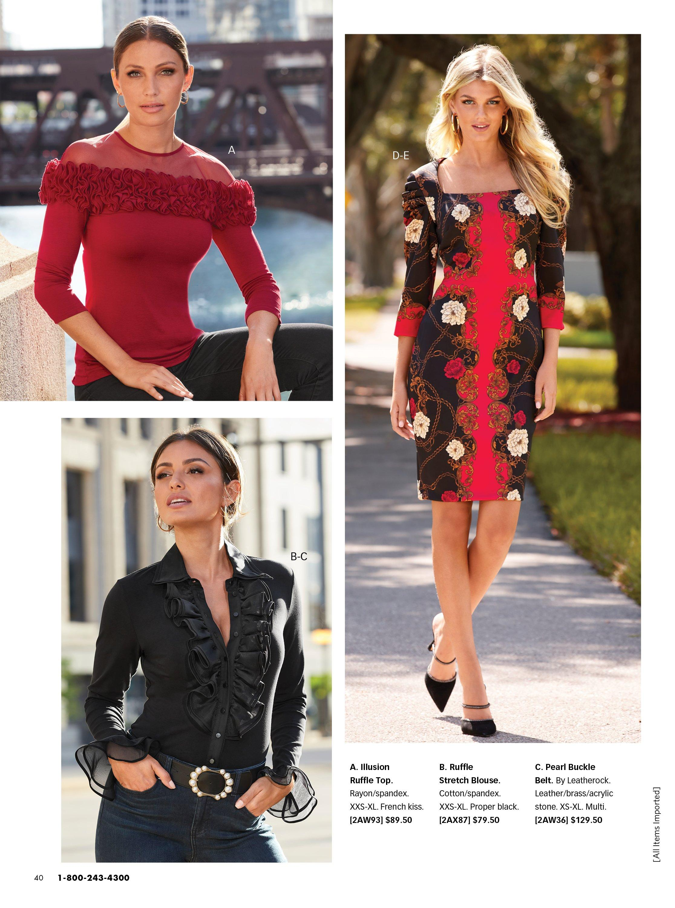 Top left model wearing a red illusion ruffle sweater. bottom left ,model wearing a black ruffle blouse, black pearl embellished belt, and jeans. right model wearing a black and red scroll print long sleeve sheath dress.
