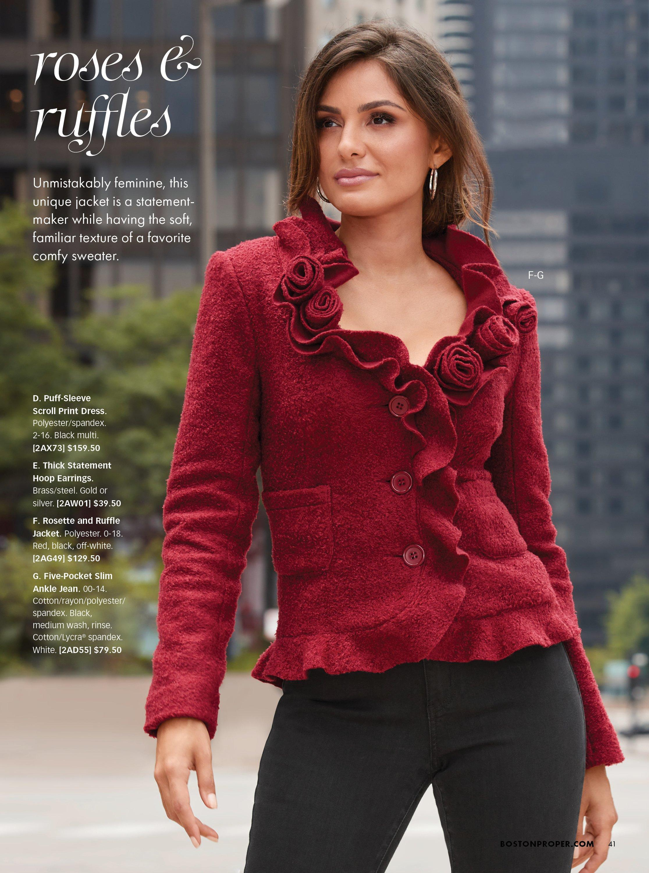 model wearing a red ruffle and rose cardigan.