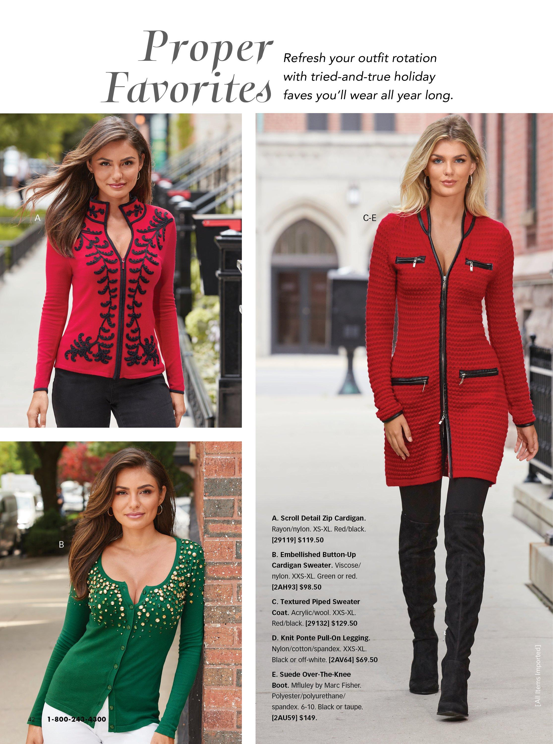 top left model wearing a red and black scroll detail zip-up cardigan. bottom left model wearing a green jewel embellished button-up cardigan. right model wearing a red and black textured sweater coat, black leggings, and black over-the-knee boots.
