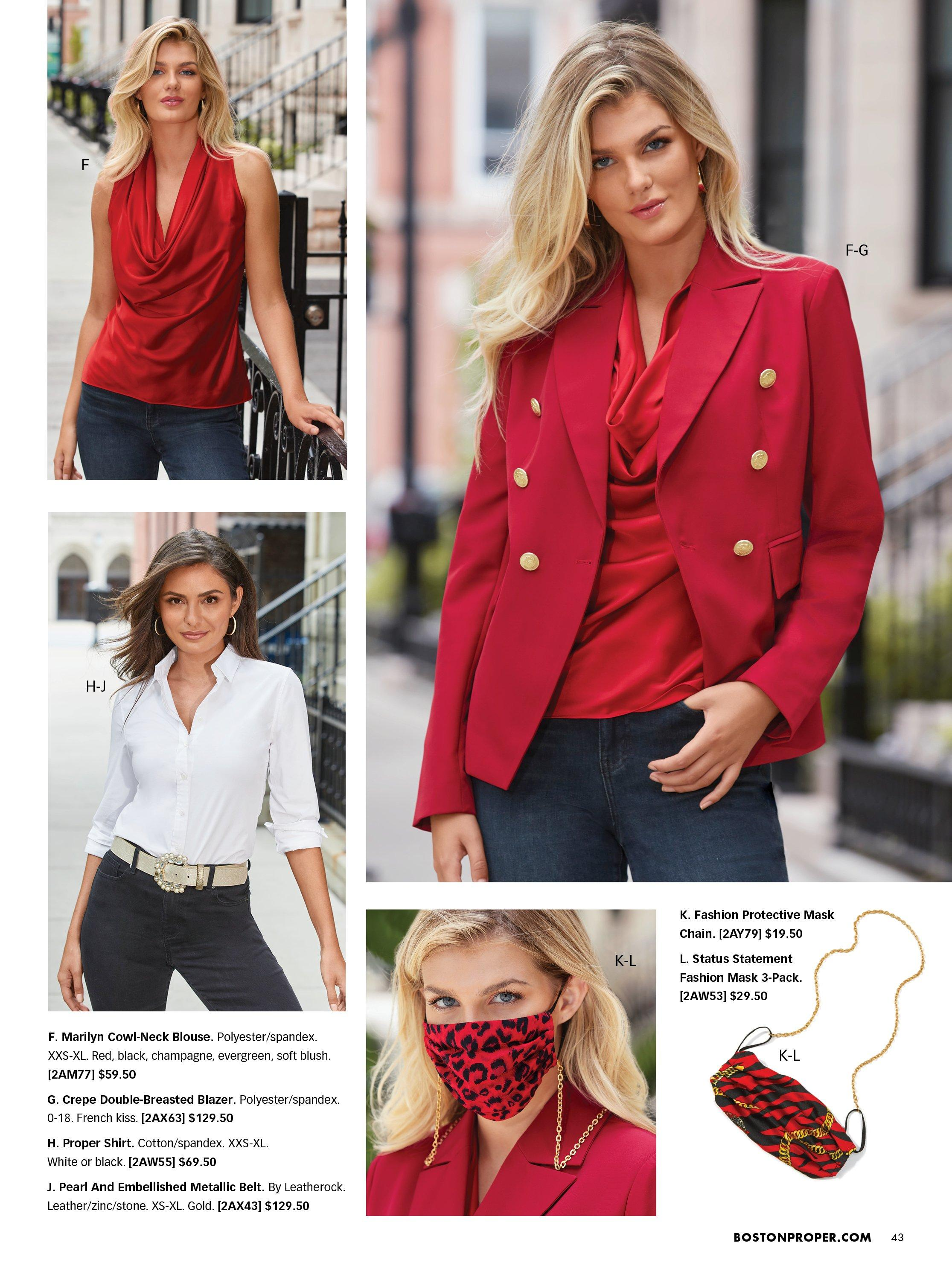 Top left model wearing a red cowl neck sleeveless blouse and jeans. bottom left model wearing a white button down blouse, silver rhinestone belt, and jeans. top right model wearing a red blazer, red cowl neck sleeveless blouse, and jeans. bottom right model wearing a read leopard print face mask and gold chain.