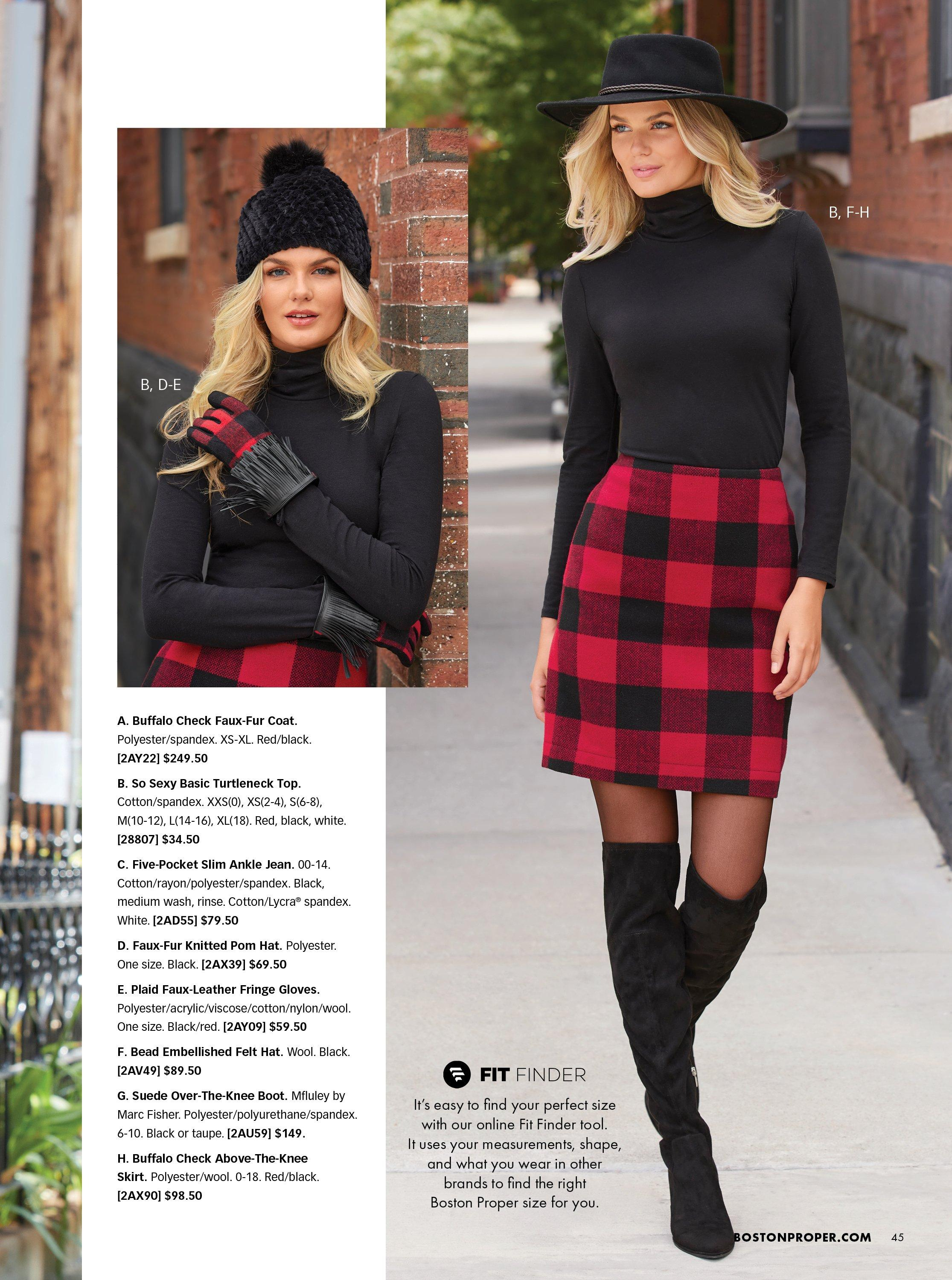 left model wearing a black beanie, black long sleeve turtleneck top, and black and red plaid gloves. right model wearing a black floppy hat, black turtleneck long sleeve top, black and red plaid skirt, and over-the-knee black boots.