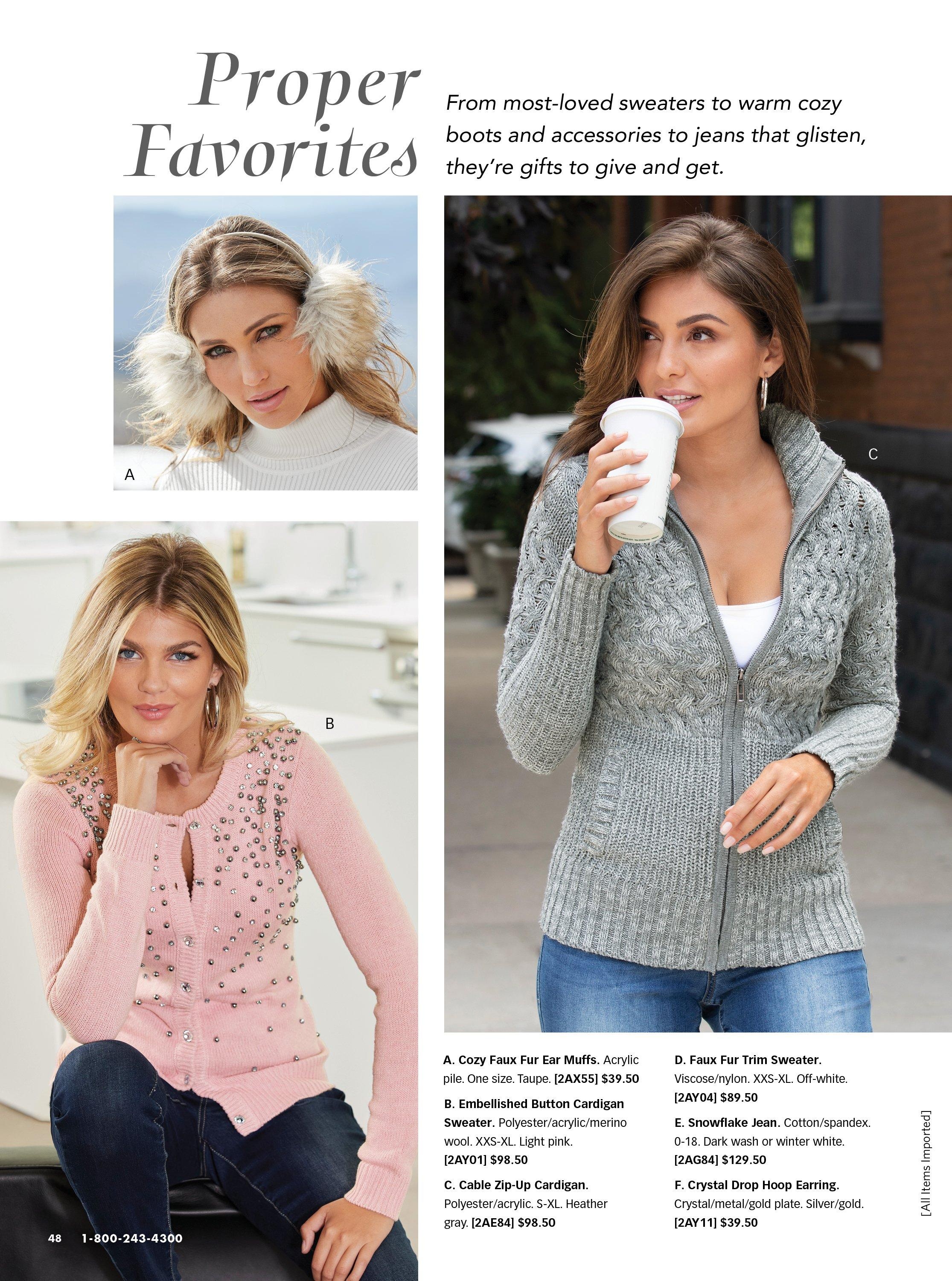 top left model wearing faux fur earmuffs. bottom left model wearing a light pink jewel embellished button up cardigan. right model wearing a gray cable knit zip-up cardigan, white tank top, and jeans.