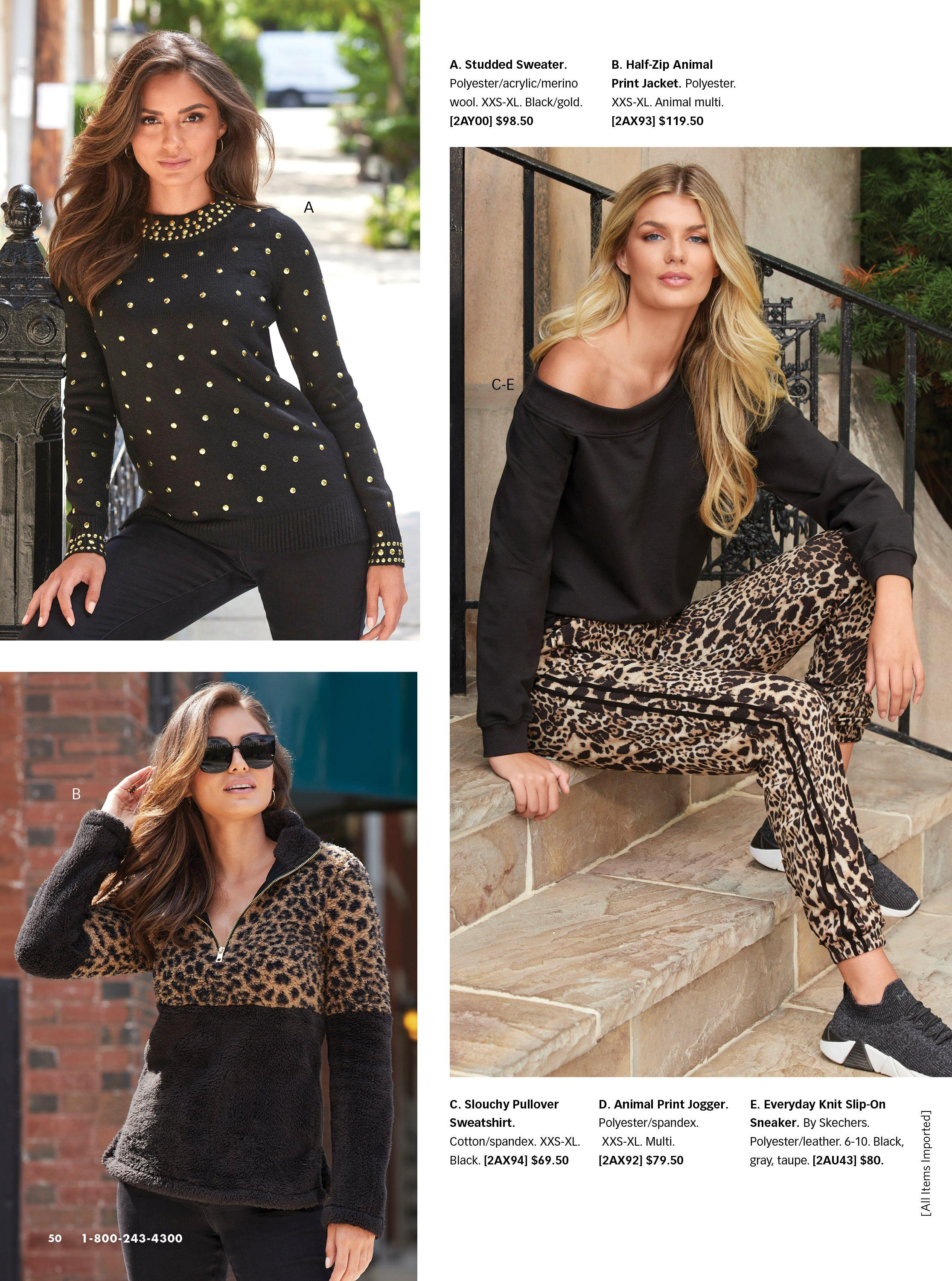 top left model wearing a black and gold studded sweater. bottom left model wearing a leopard and black half zip jacket. right model wearing a black slouchy sweatshirt, animal print leggings, and black sneakers.