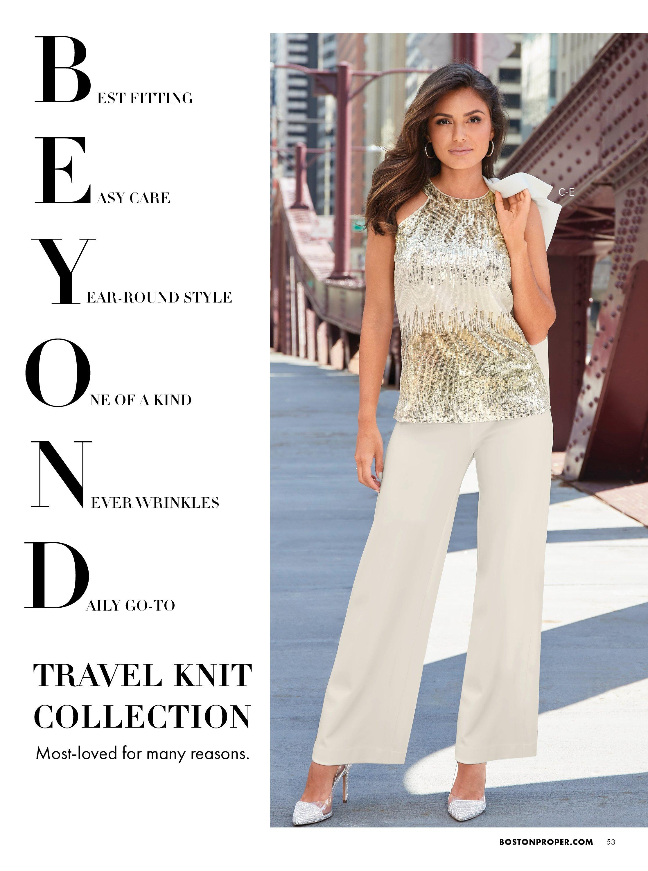 Model wearing a gold and silver sequin embellished sleeveless top, off-white palazzo pants, and silver rhinestone vinyl pumps.
