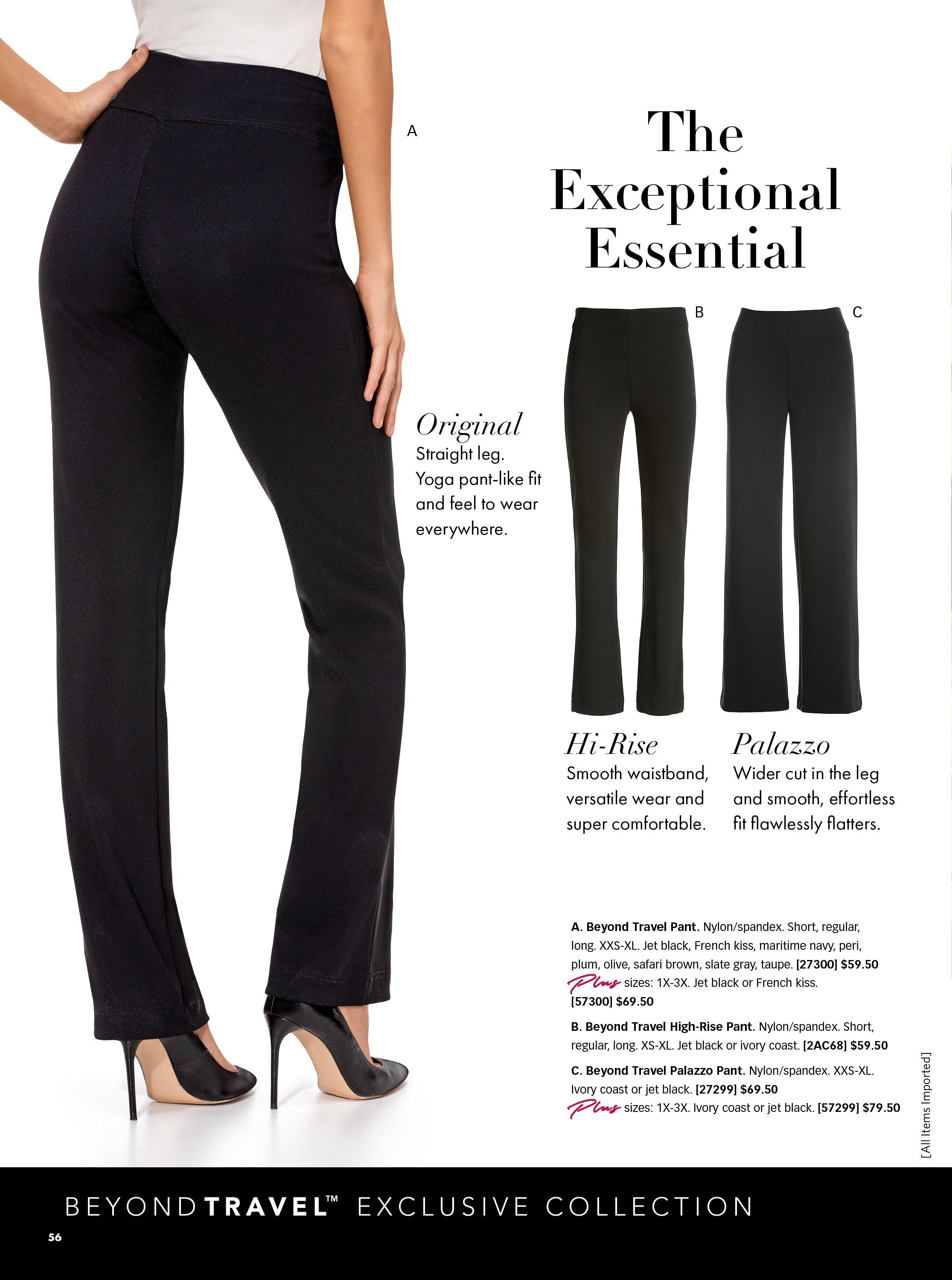 three pairs of beyond travel pants shown in original, palazzo, and high waisted.