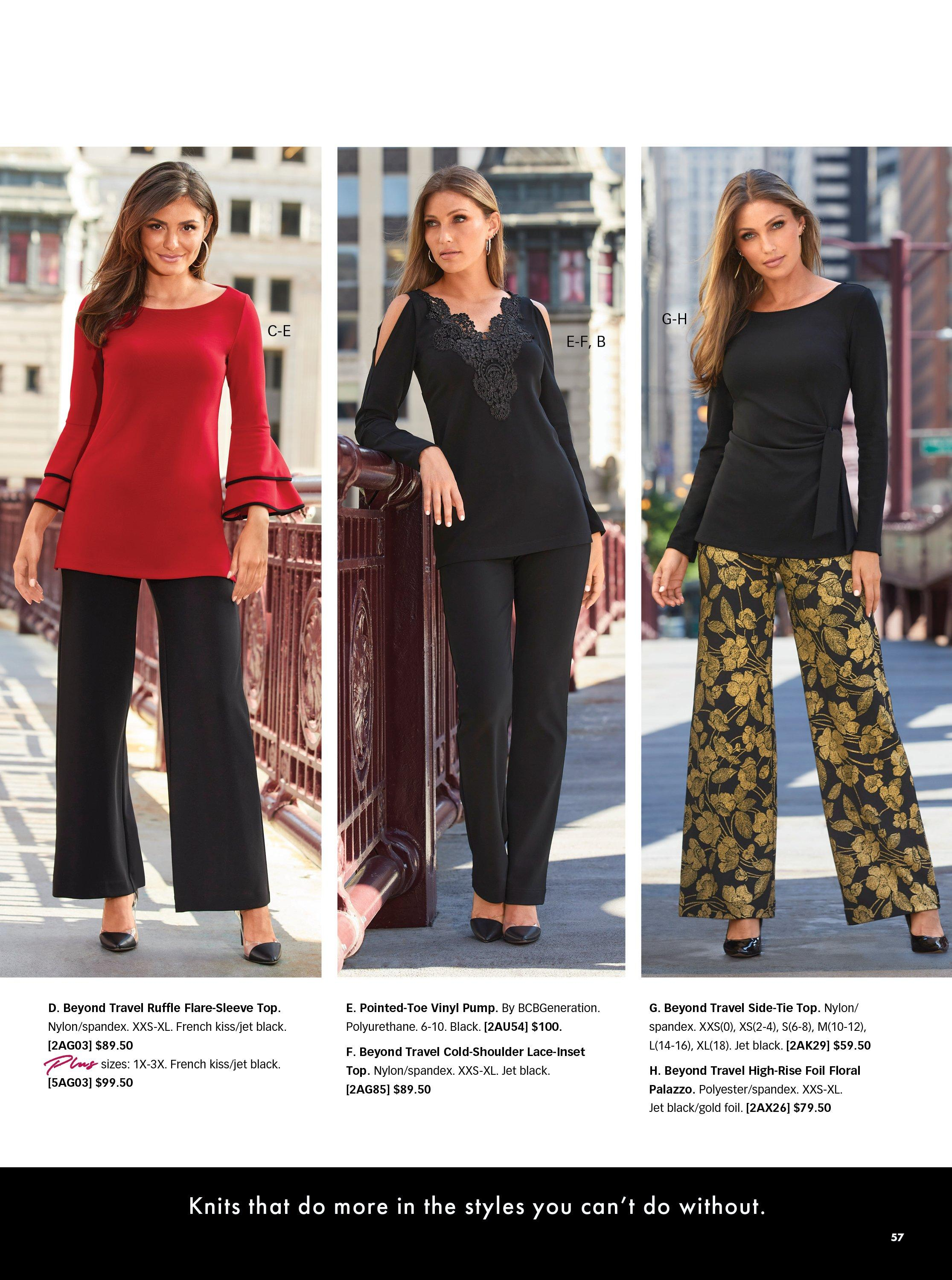 left model wearing a red and black ruffle flare sleeve top, black palazzo pants, and black vinyl heels. middle model wearing a black long-sleeve cold-shoulder lace top, black pants, and black vinyl heels. right model wearing a black side-tie long-sleeve top, black palazzo pants with yellow flowers, and black pumps.
