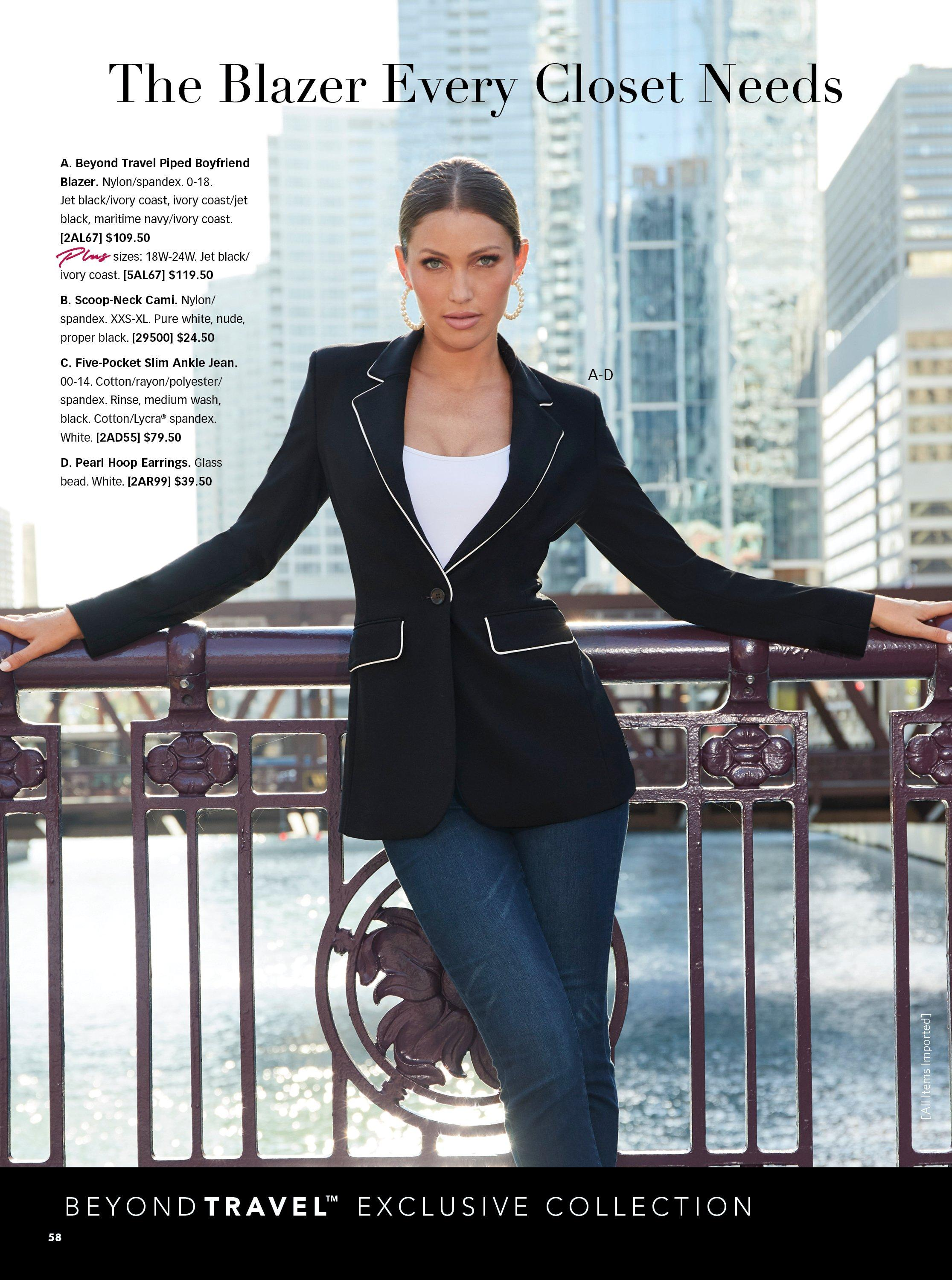 model wearing a black blazer with white piping, white tank top, and jeans.