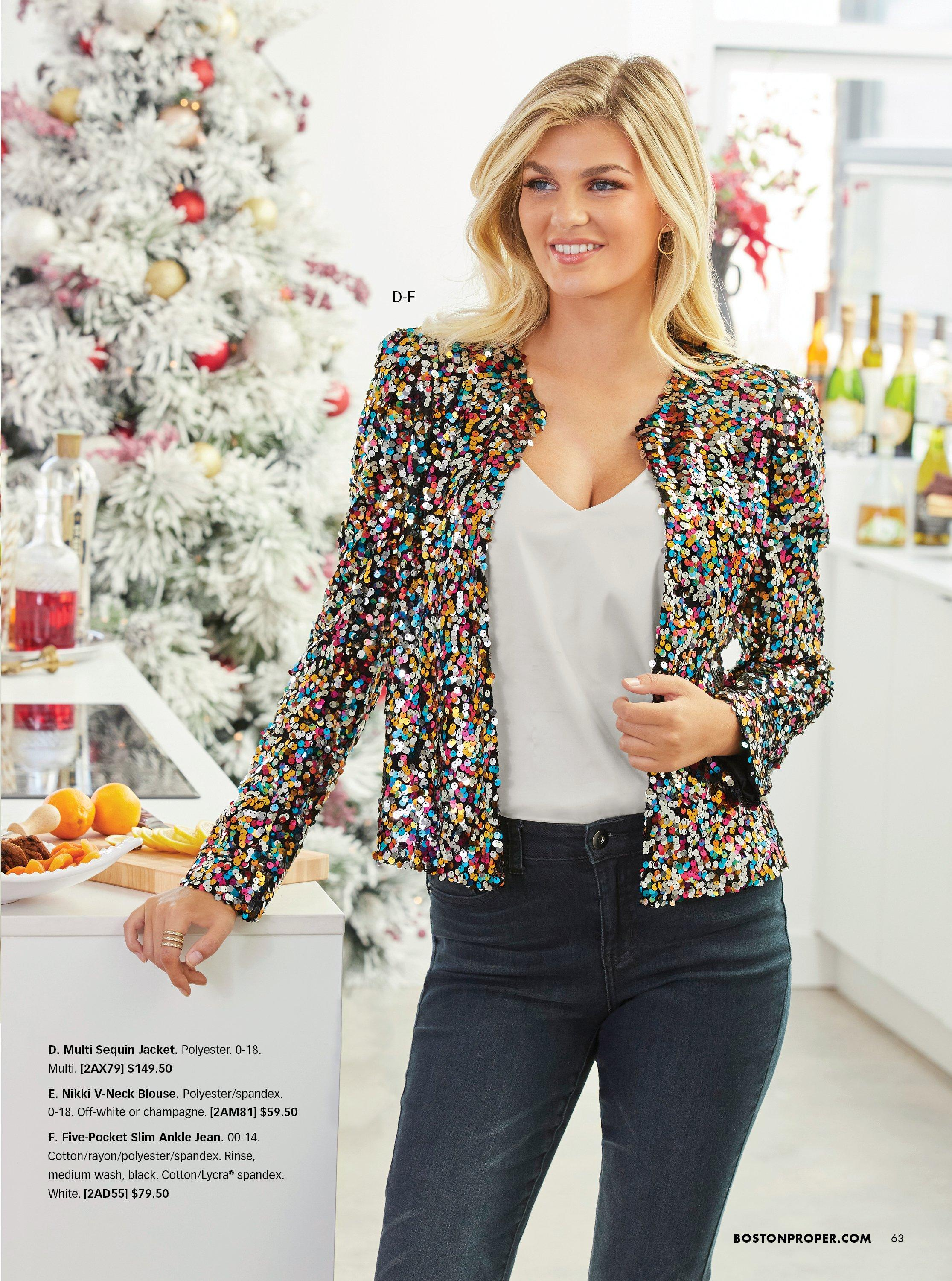 model wearing a multicolored sequin blazer, white v-neck charm tank top, and jeans.