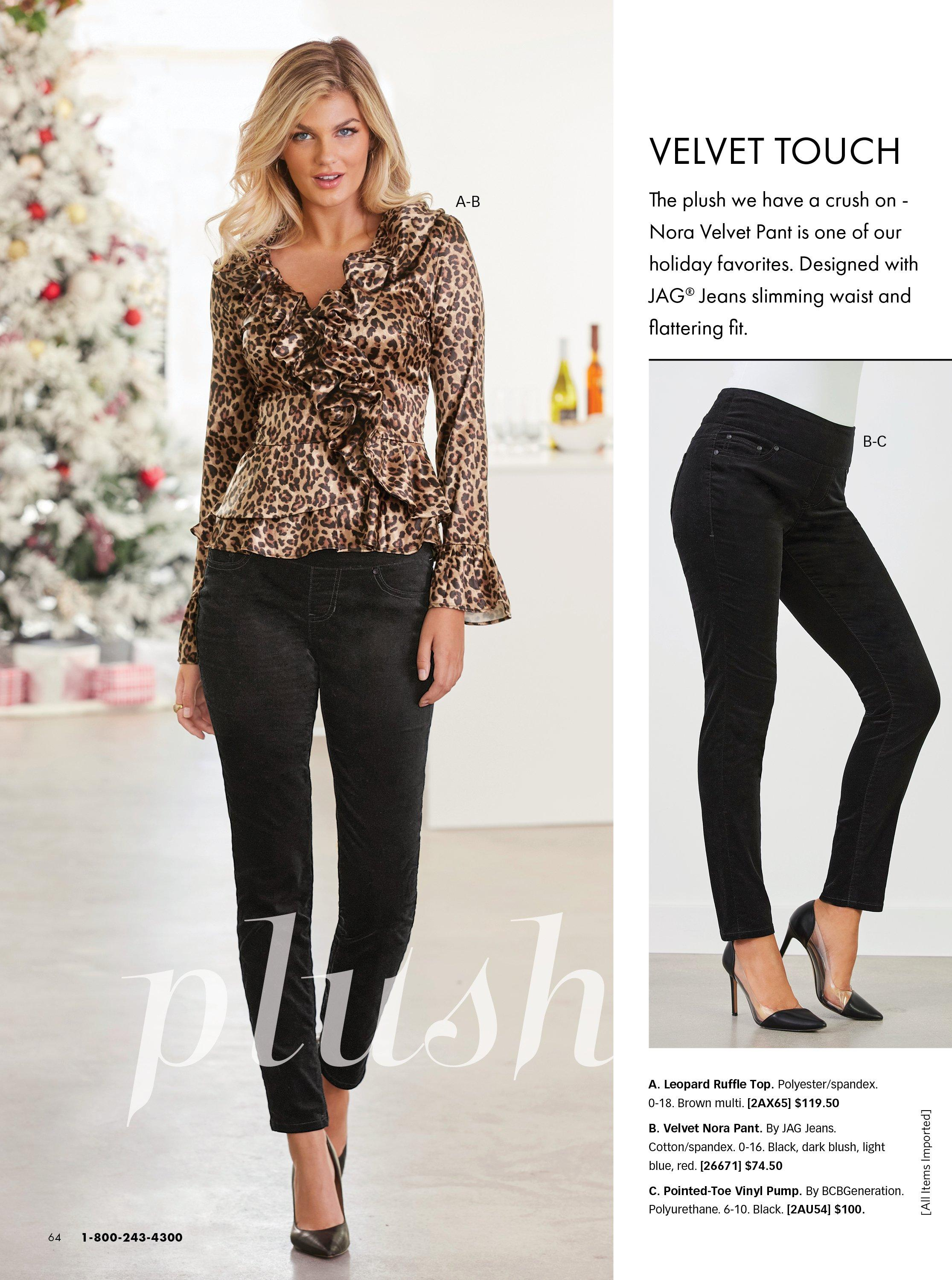 model wearing a leopard print ruffle long-sleeve blouse, black velvet pull-on pants, and black pumps. left panel shows black velvet pants and black vinyl heels.