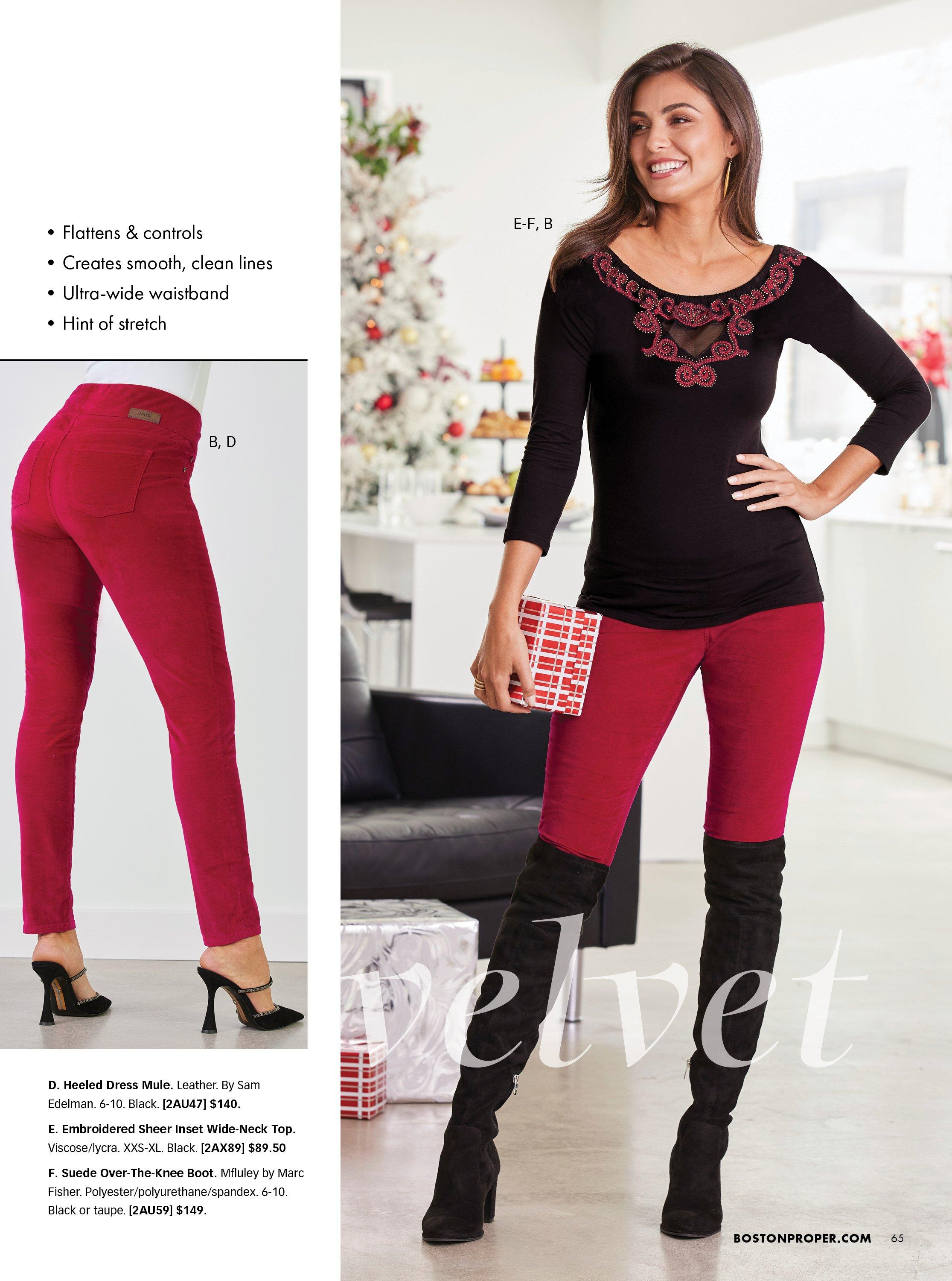 model wearing a black and red embroidered sweater, red velvet pants, and black over-the-knee boots. left panel shows the red velvet pants and black heeled mule shoes.