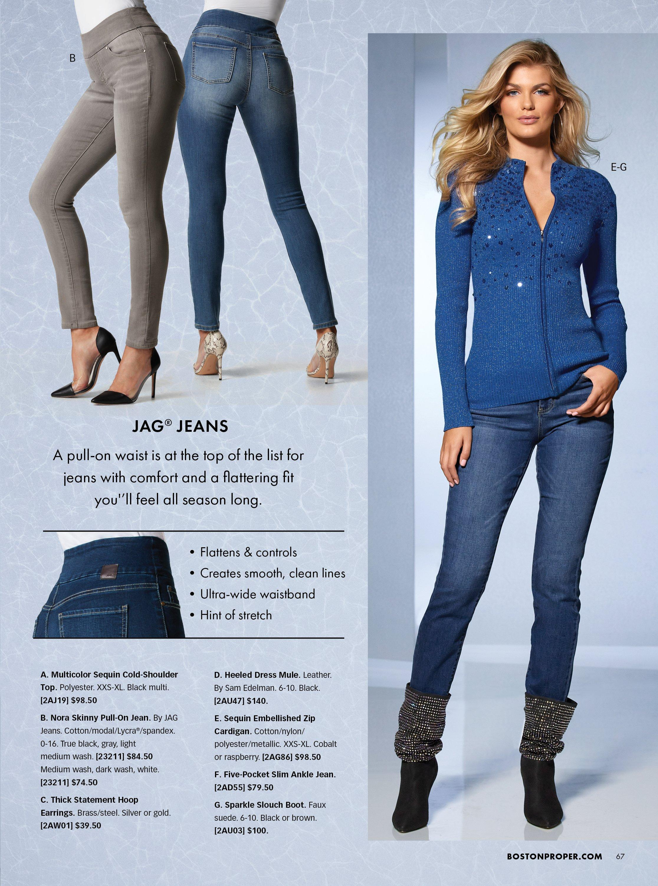 right model wearing a blue sequin embellished zip-up cardigan, jeans, and faux fur cuffed booties. left panel shows pull-on jeans in gray and denim.