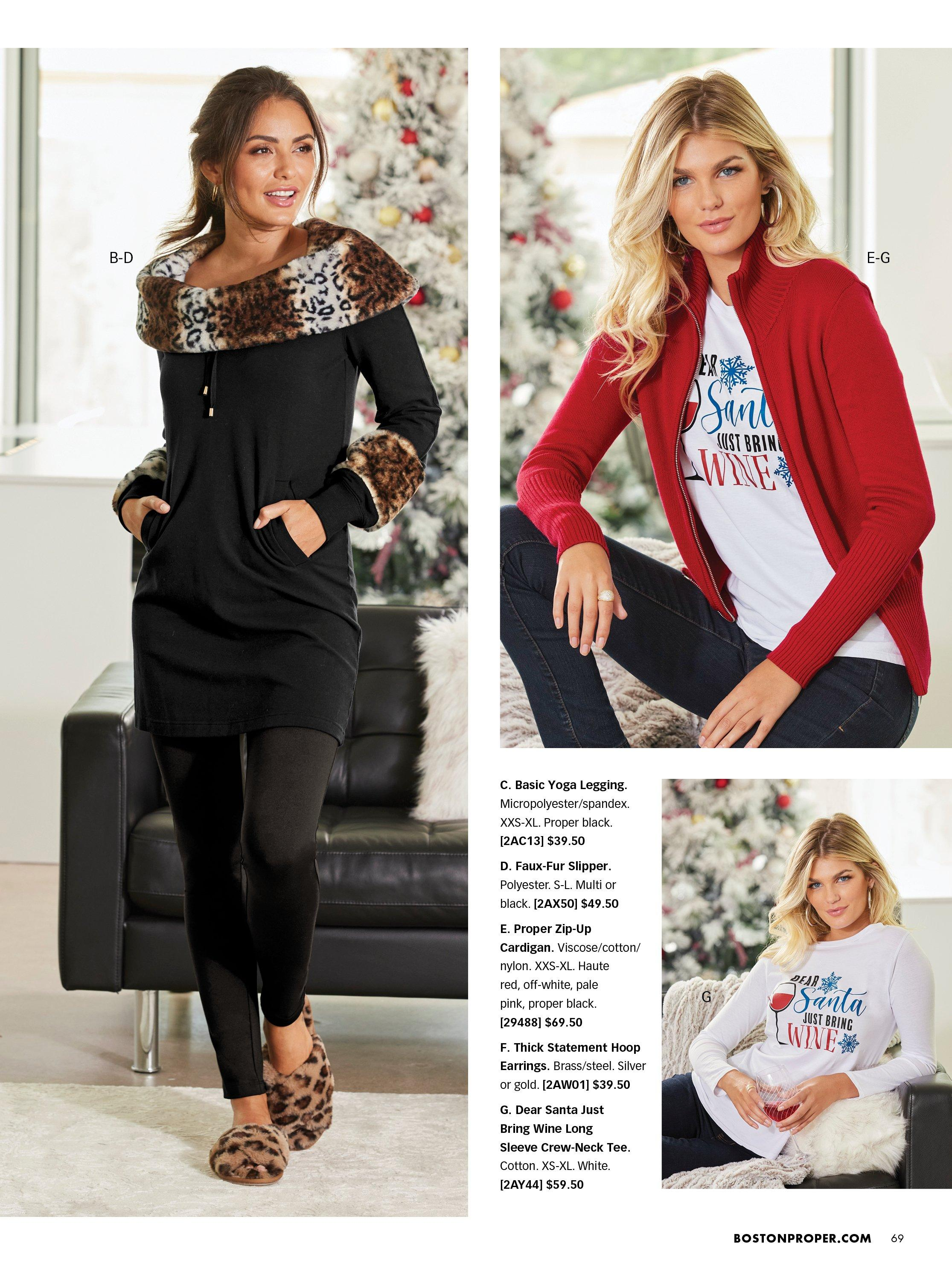 left model wearing a black off-the-shoulder leopard faux fur sweatshirt, black leggings, and leopard faux-fur slippers. top right model wearing a white long-sleeve santa graphic tee, red zip-up cardigan, and jeans. bottom right model wearing a white long-sleeve santa graphic tee.
