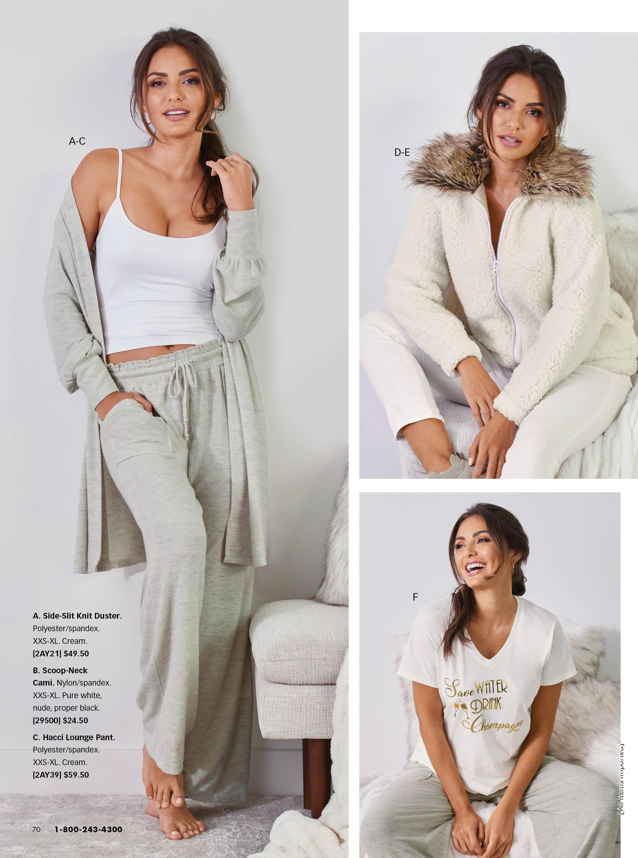 left model wearing a gray duster, gray lounge pants, and a white tank top. top right model wearing a white faux fur zip-up sweater. bottom right model wearing a graphic tee and gray lounge pants.