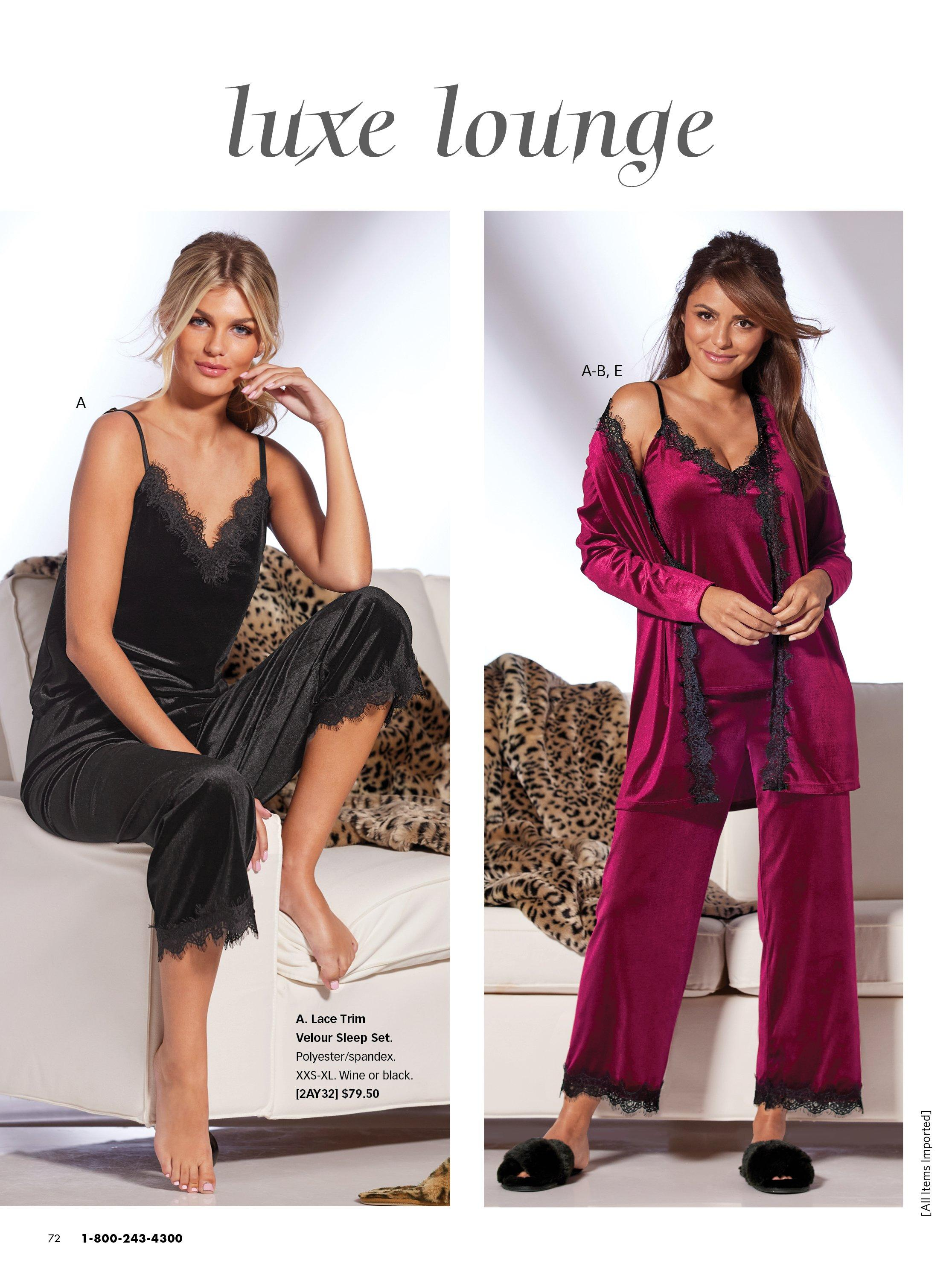 left model wearing a black lace sleep set. right model wearing a purple lace sleep set, a purple velour robe and black faux fur slippers.