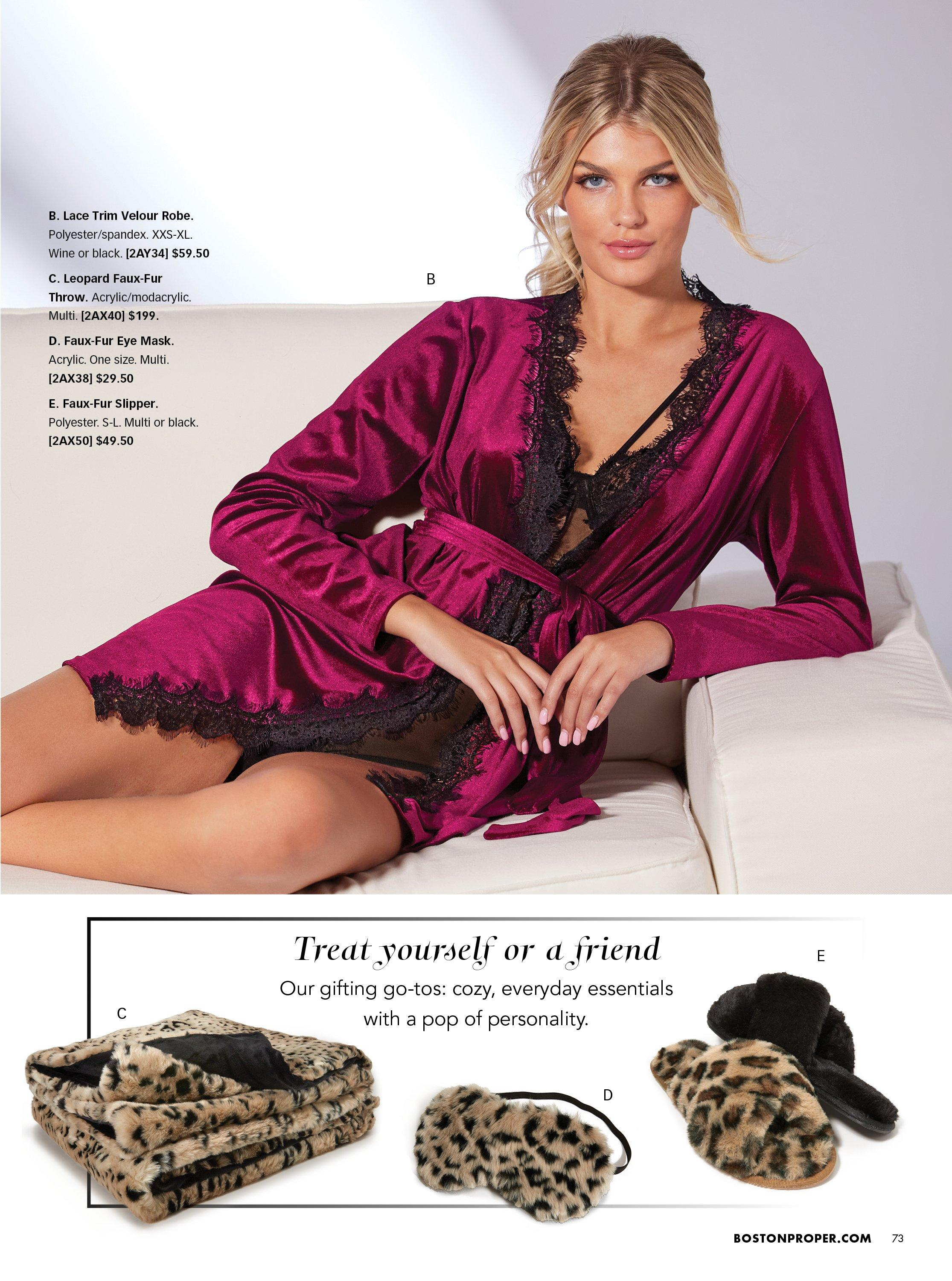 model wearing a purple velour robe and black strappy and lace bodysuit. bottom panel shows leopard printed throw, eye mask, and slippers.