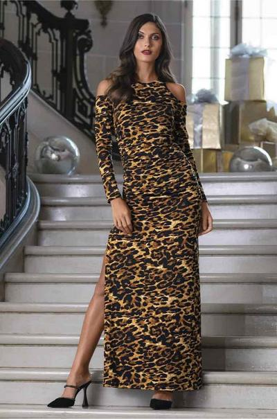 model wearing a leopard print long-sleeve cold-shoulder maxi dress and black heeled mule shoes.