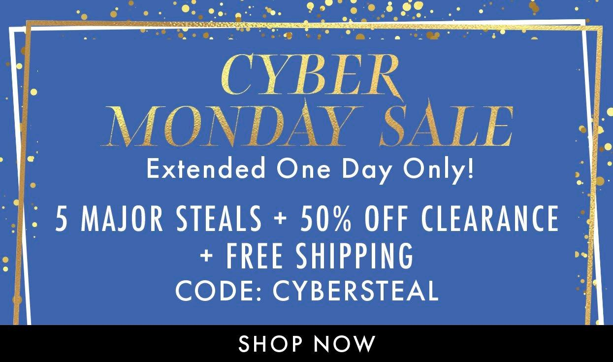 gold text on a blue and gold glitter background: cyber monday sale. 5 major steals + 50% off clearance + free shipping. code: cybersteal. shop now.