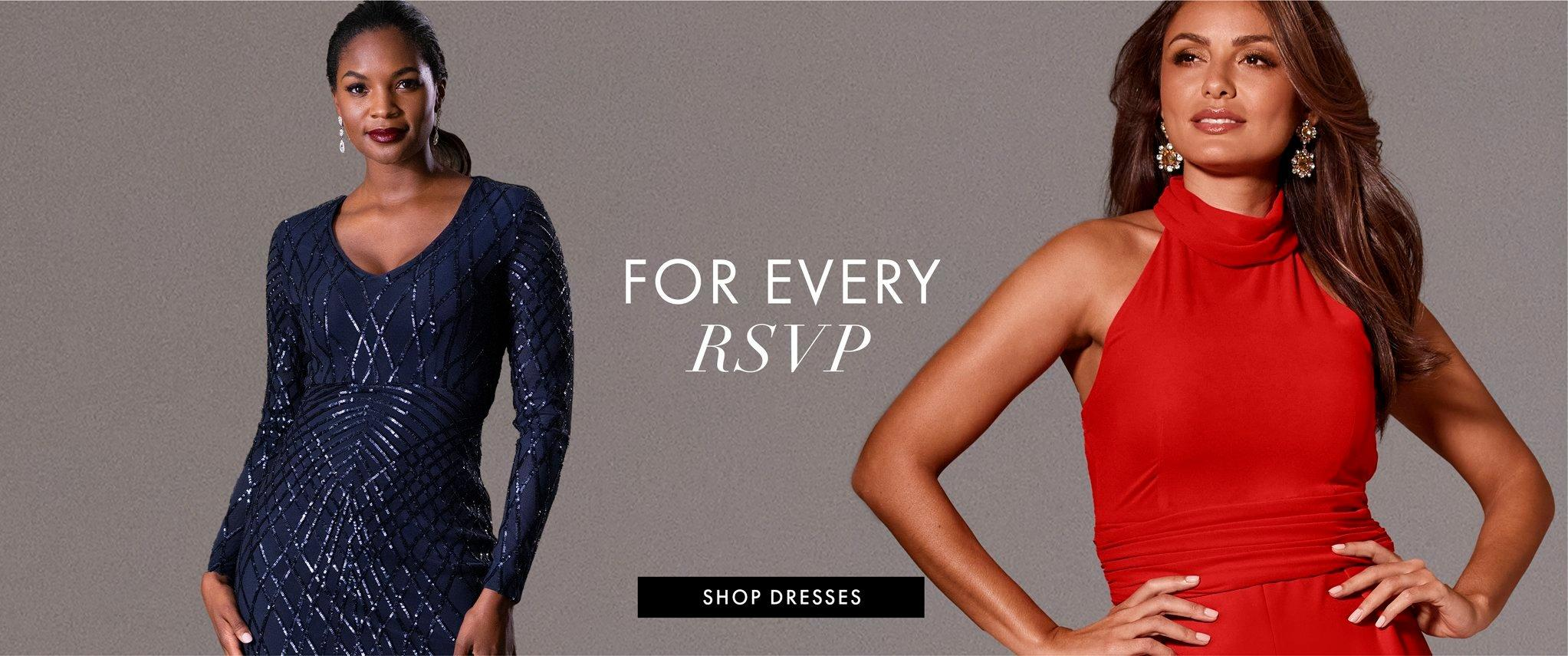 left model wearing a navy sequin long-sleeve dress. right model wearing a red mock-neck sleeveless jumpsuit and jewel drop earrings. text: for every rsvp. shop dresses.
