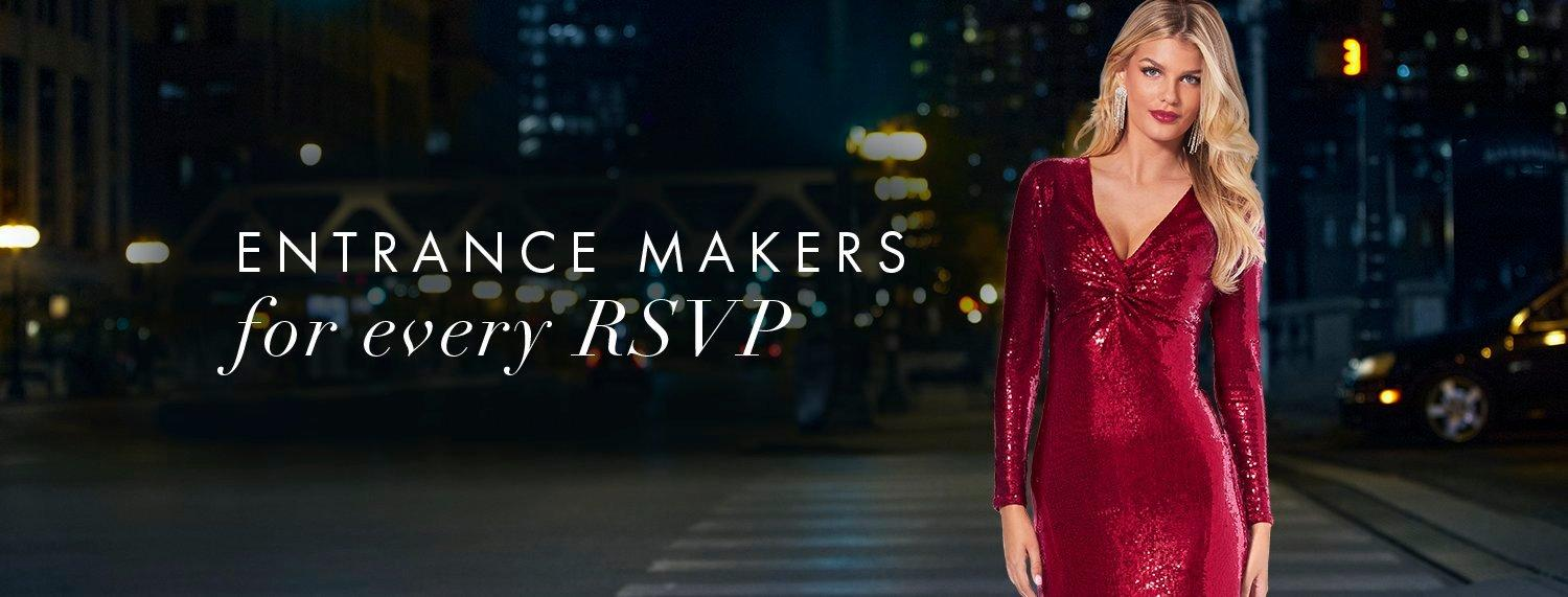model wearing a red sequin long-sleeve v-neck gown. text: entrance makers for every rsvp.