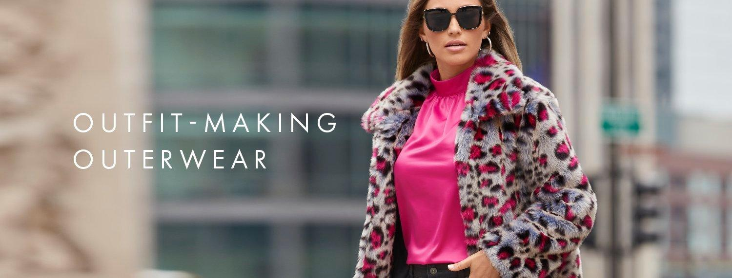 model wearing a gray and pink leopard print faux fur jacket, pink high-neck top, and black sunglasses. text: outfit-making outerwear.