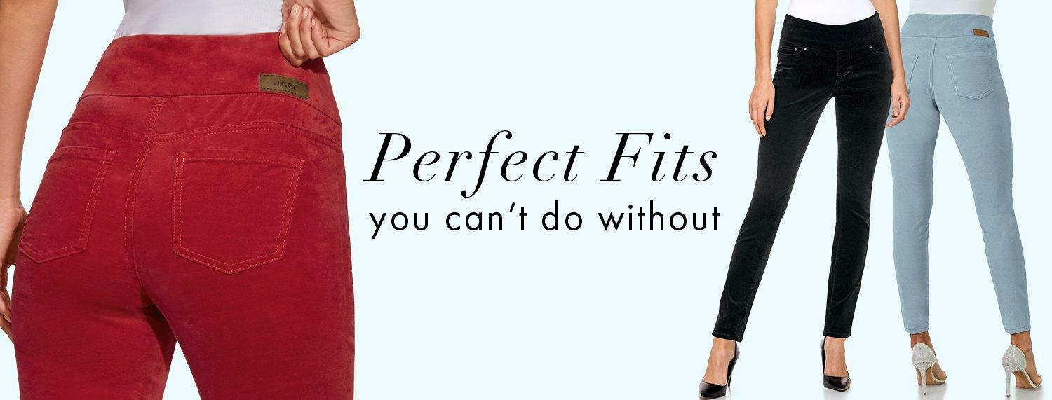 pull-on jeans in red, black, and blue. text: perfect fits you can't do without.