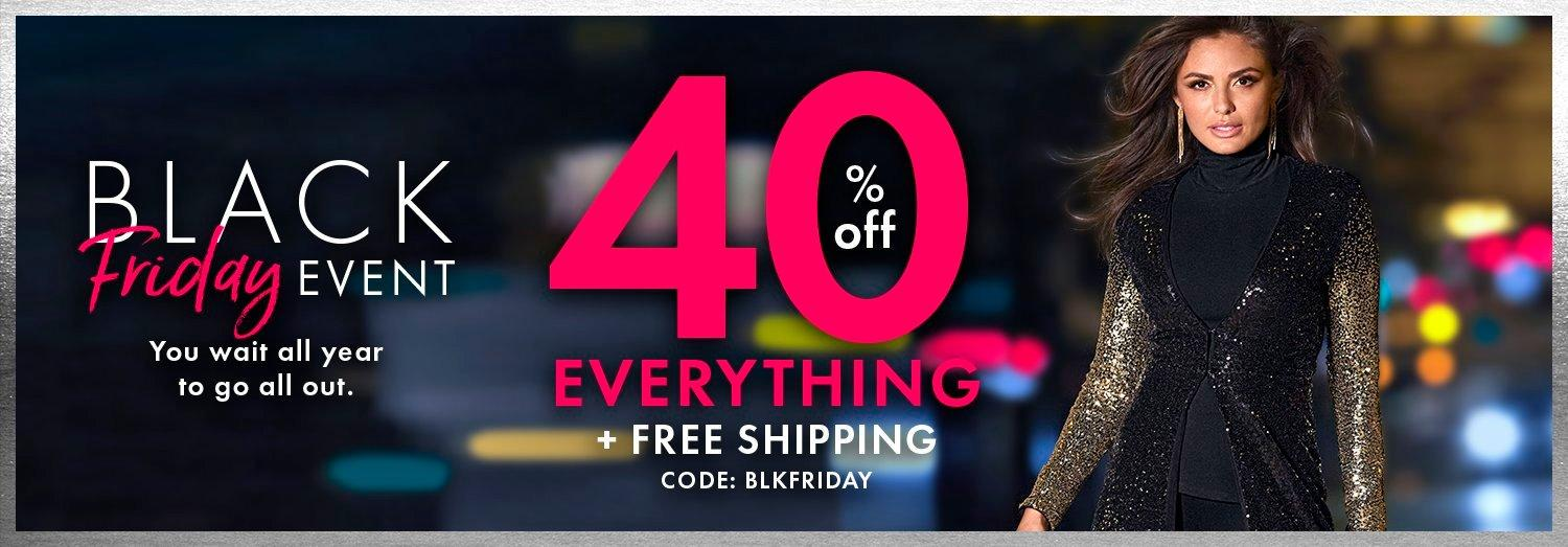 white and pink text: black friday event. you wait all year to go all out. 40% off everything + free shipping. code: blkfriday. model wearing a black and gold sequin ombre duster, black turtleneck top, and black pants.