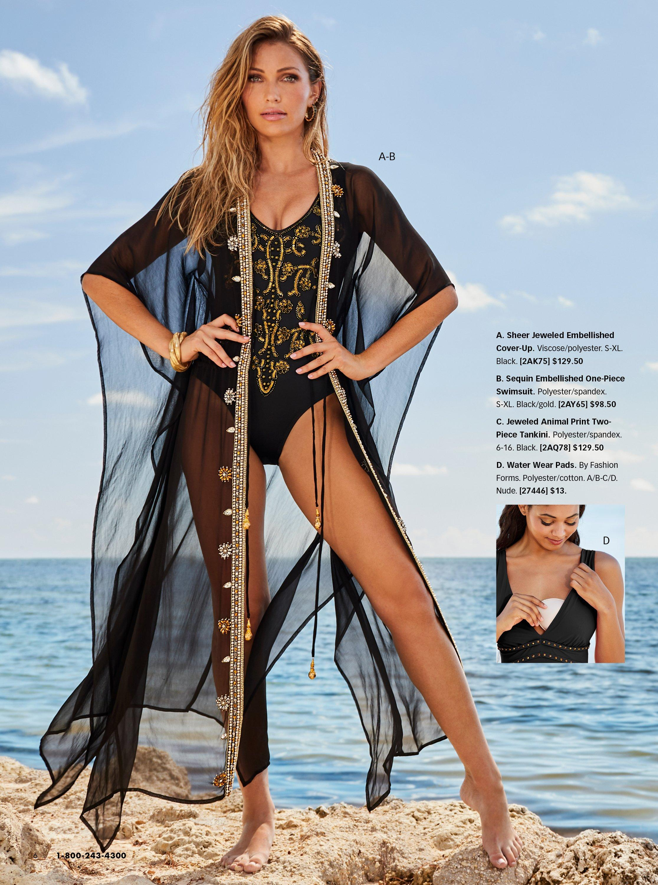model wearing a black sheer coverup with gold embellishments and a black one-piece swimsuit with gold embellishments. pull-out image of water wear pads.