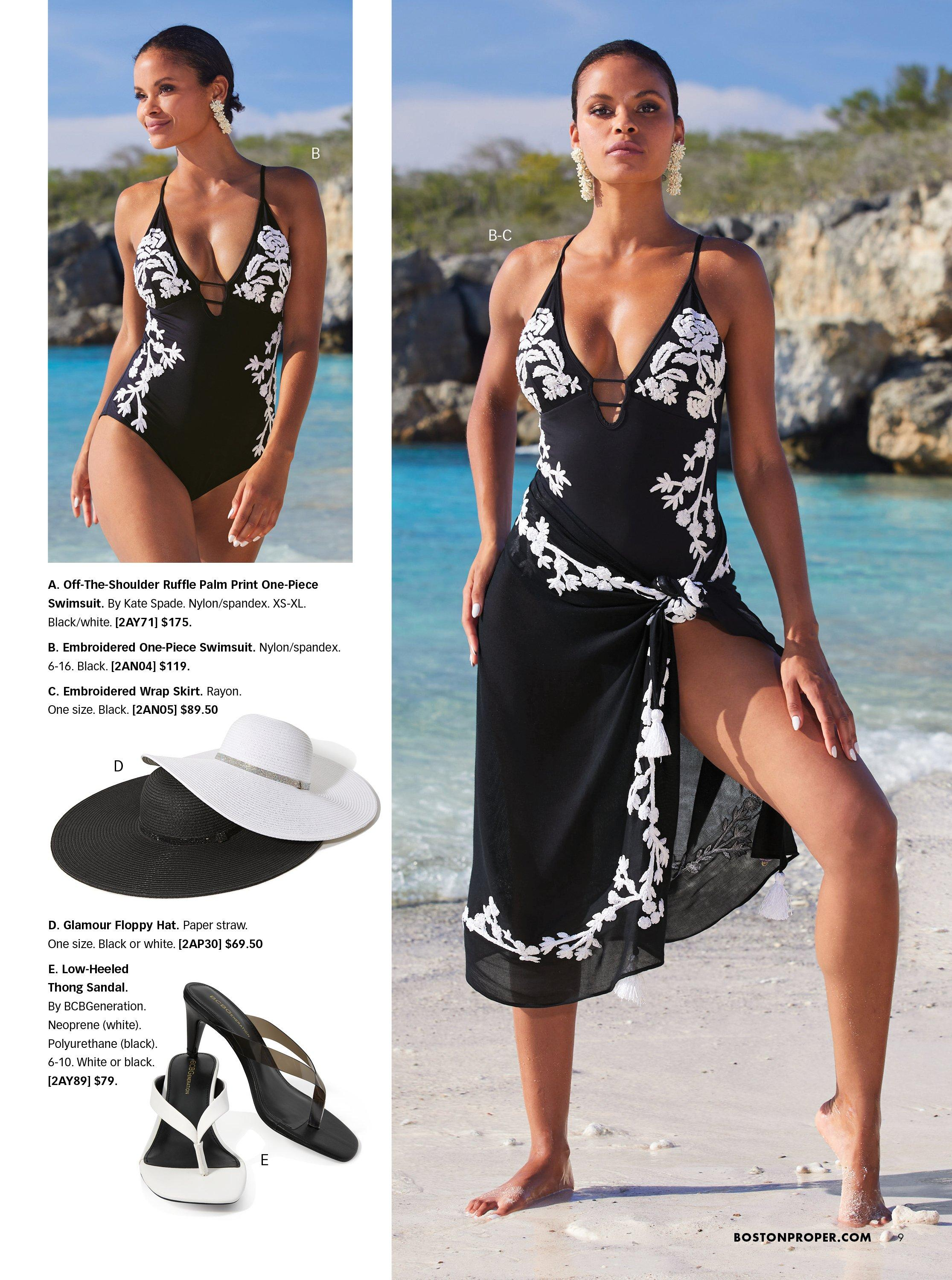top left model wearing a black one piece swimsuit embroidered with white flowers. bottom left show one black and one white floppy hat and one black and one white heeled thong sandal. right model wearing a black one piece swimsuit with embroidered white flowers and a matching skirt.