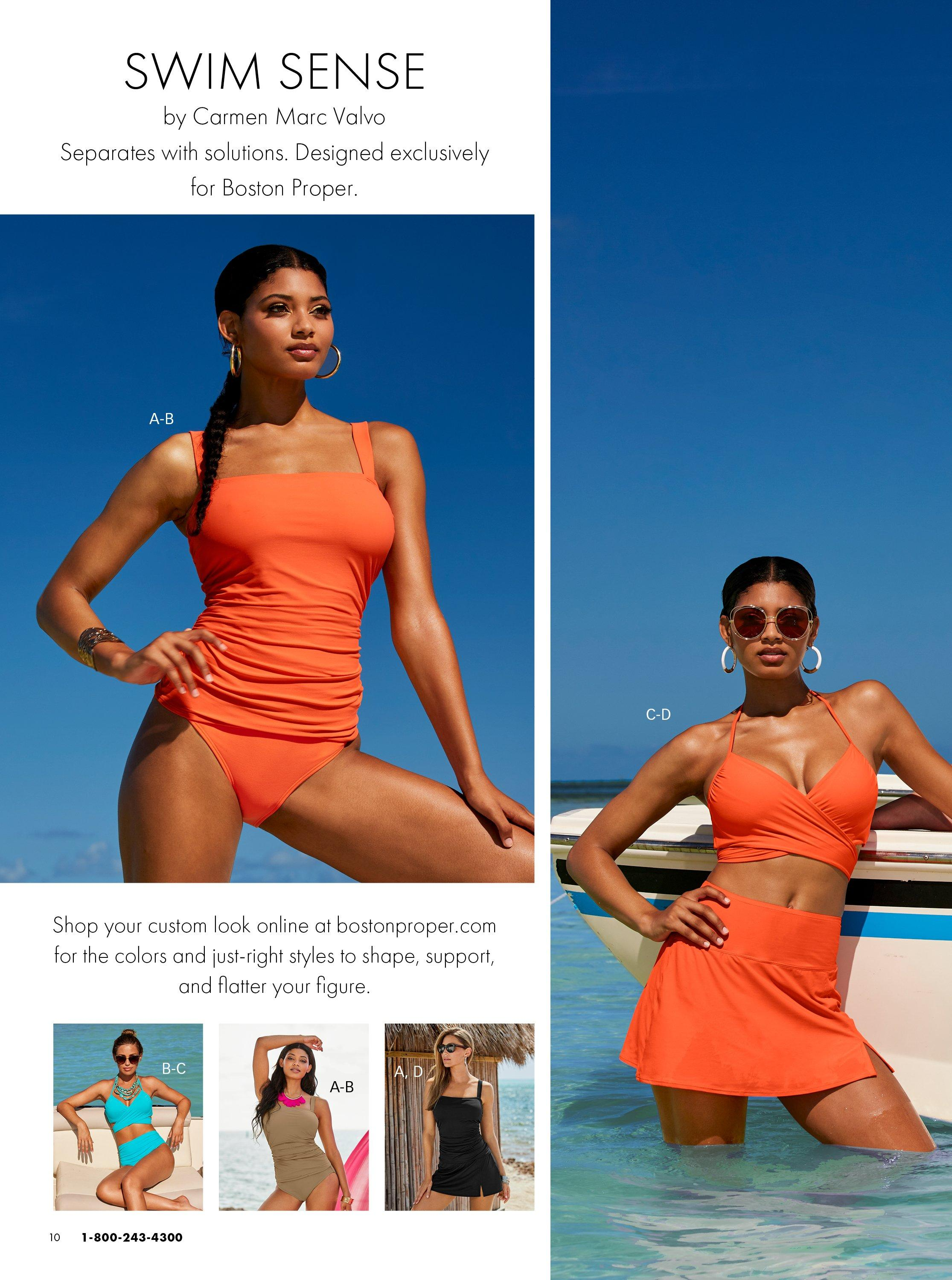 left model wearing an orange tankini. right model wearing an orange bikini with skirted bottoms. same items shown in blue, tan, and black.