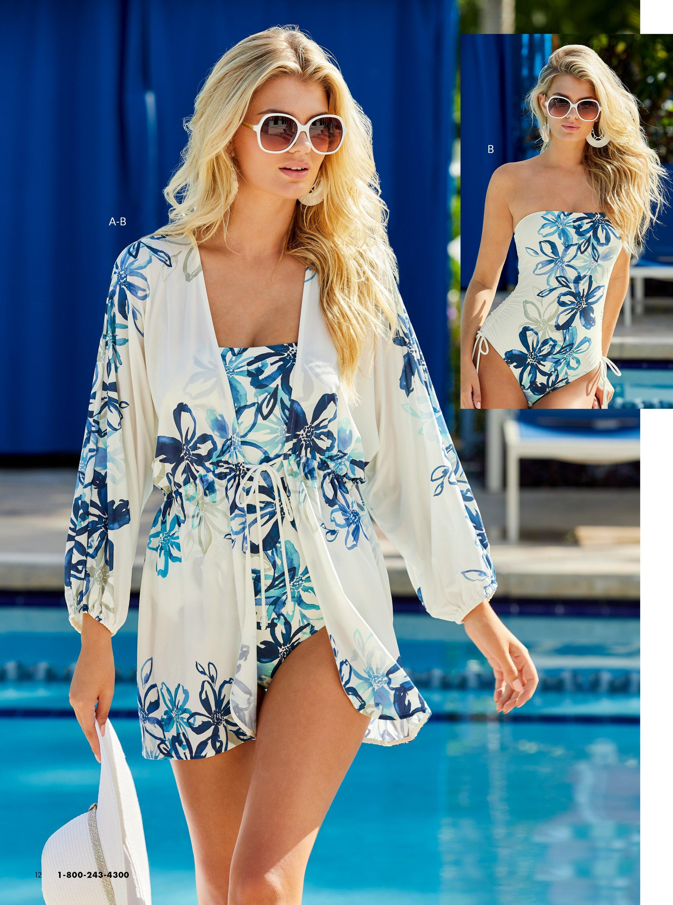 model wearing a blue and white floral printed bandeau one piece swimsuit and a matching cover up.