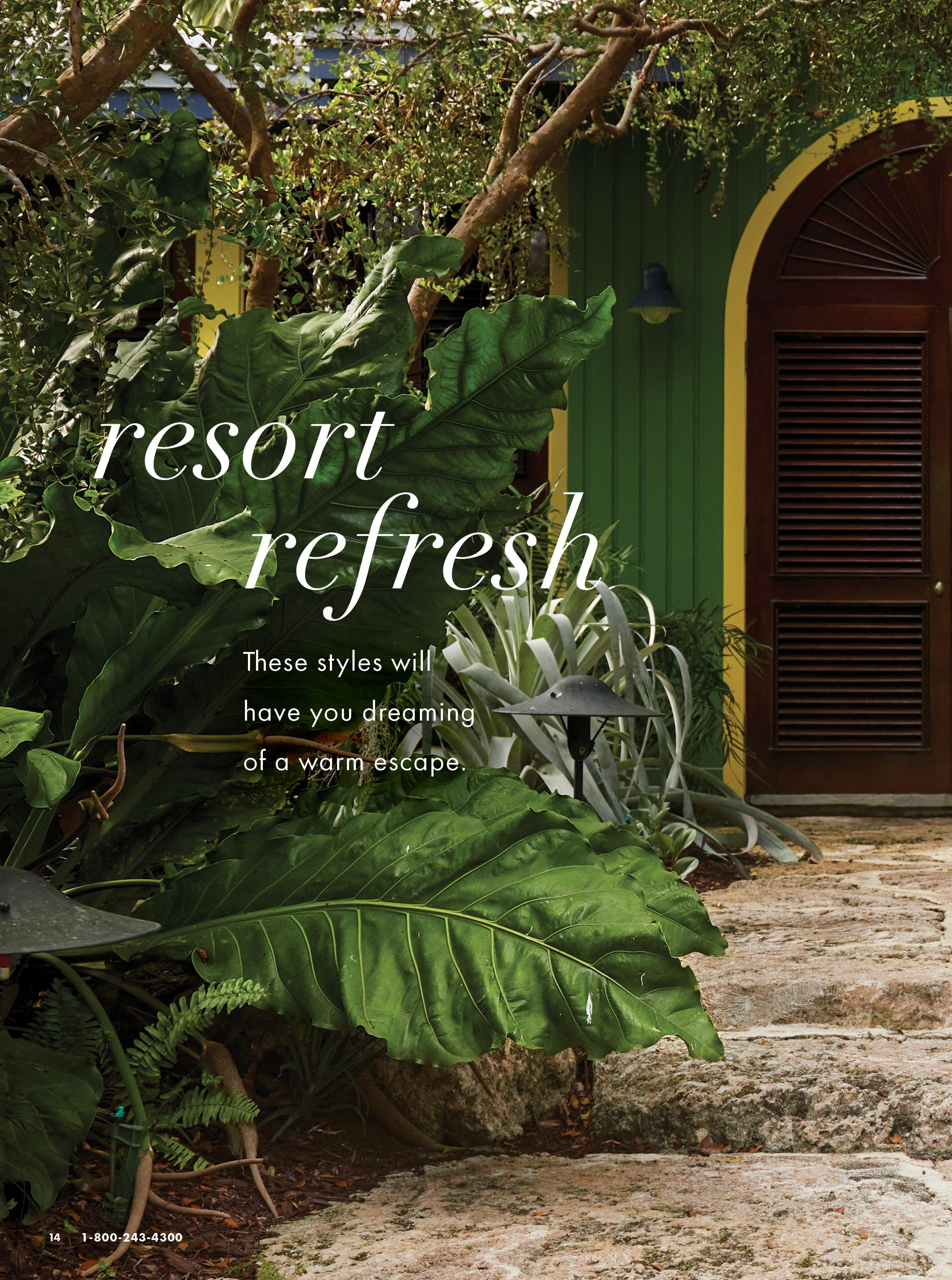 white text on palm frond background: resort refresh