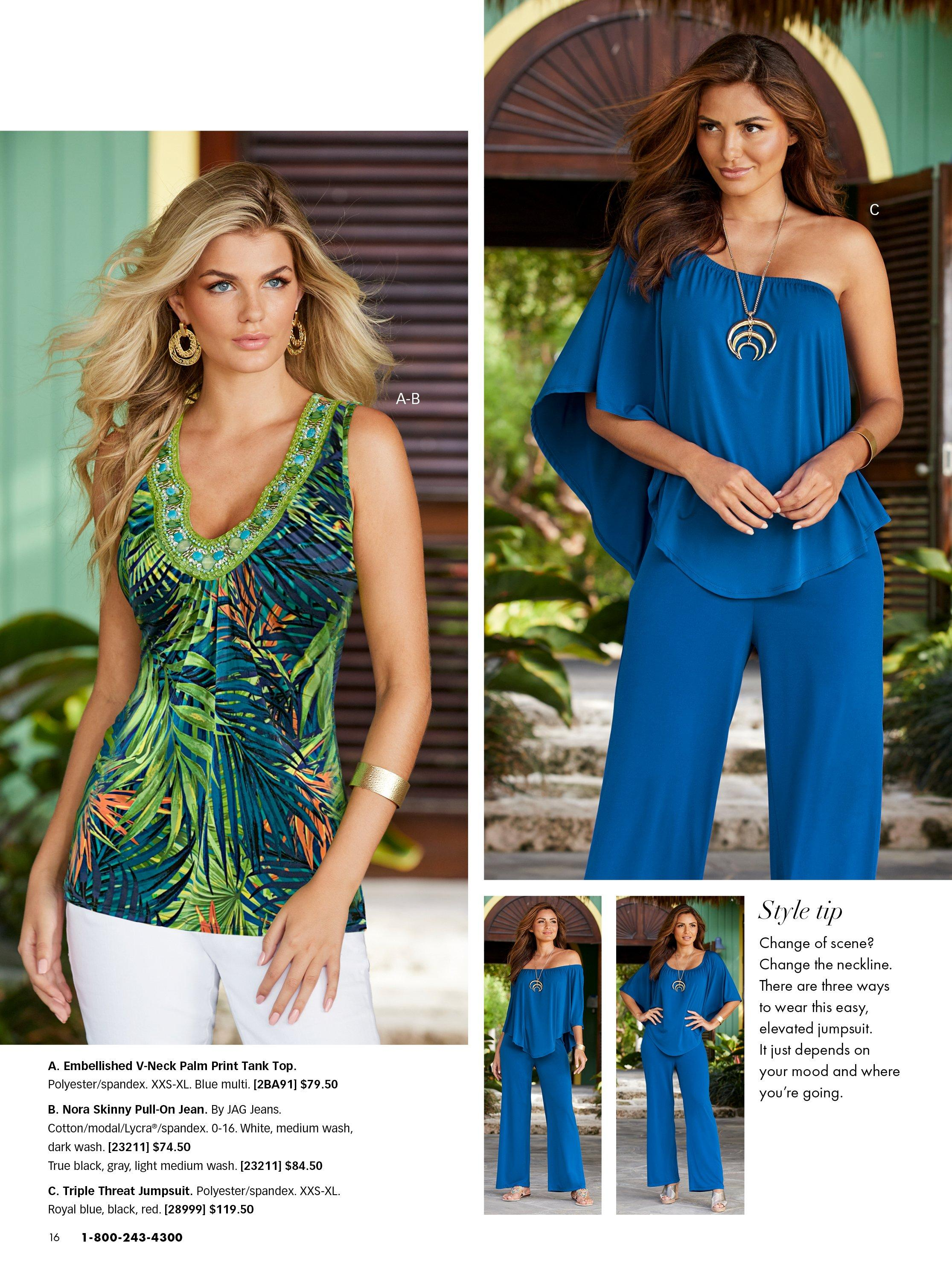 left model wearing a sleeveless embellished jungle print top and white pants. right model wearing a blue off-the-shoulder jumpsuit.