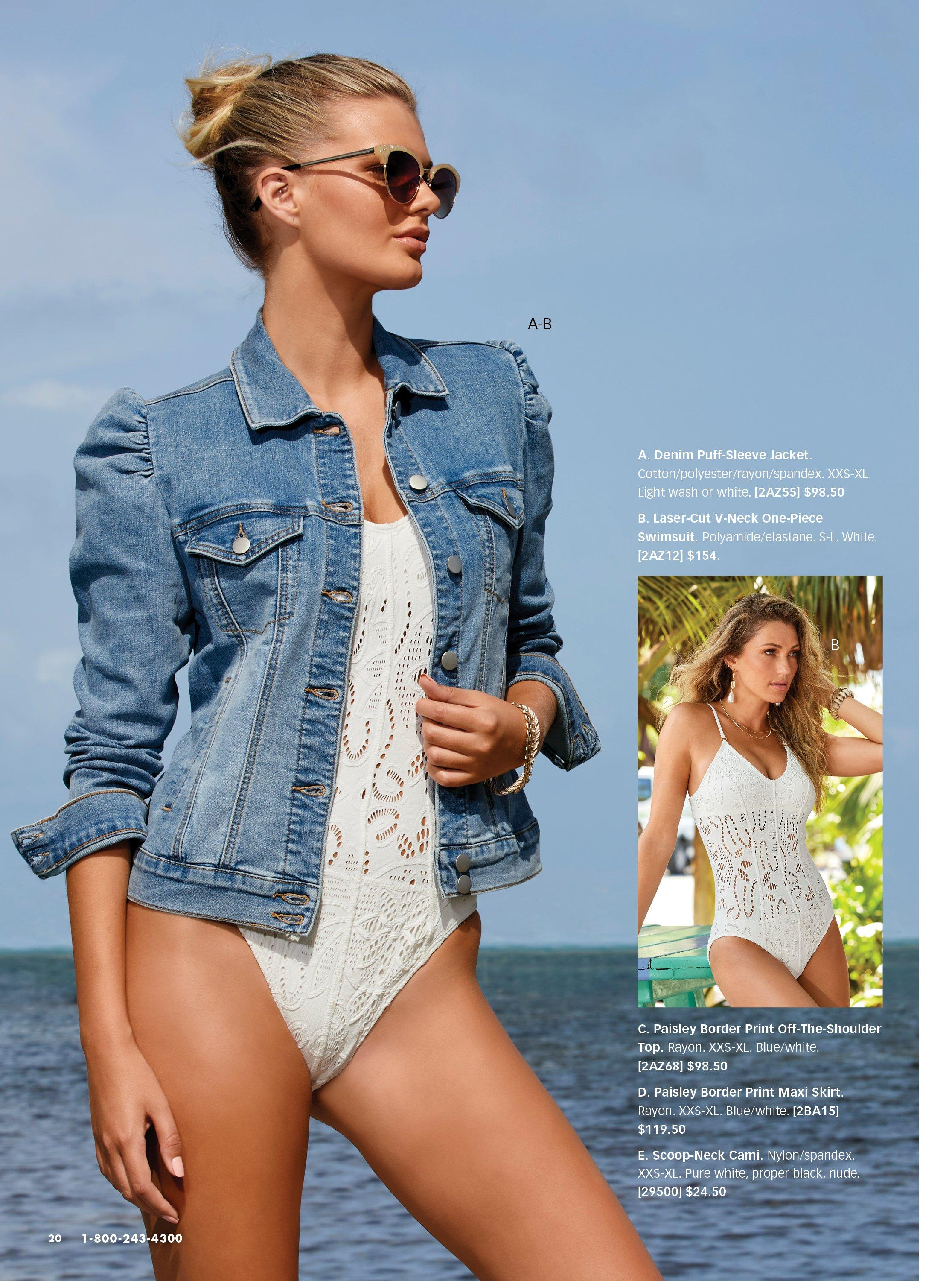 left model wearing a puff-sleeve denim jacket over a white lace one-piece swimsuit. right model wearing a white lace one piece swimsuit.