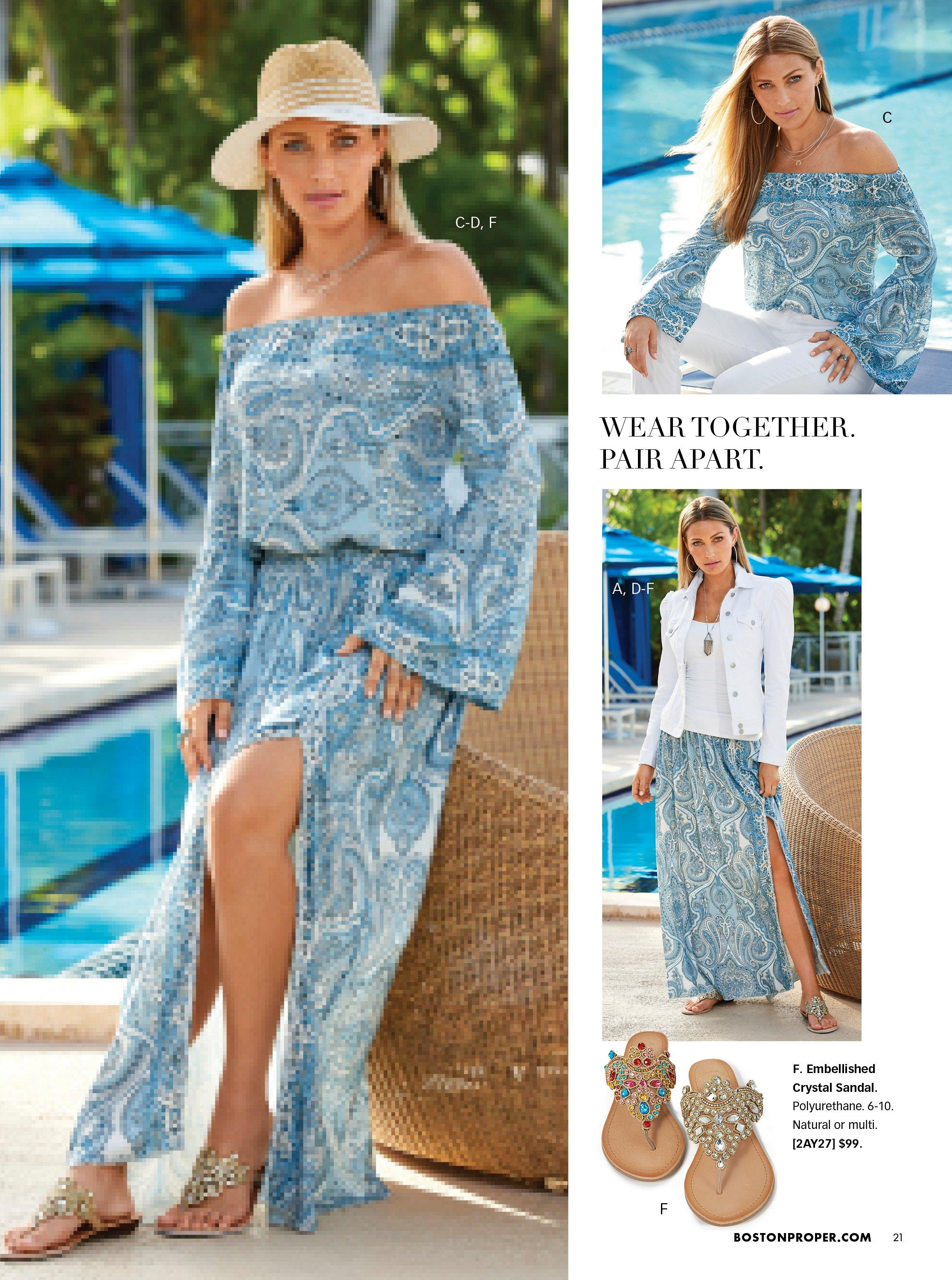 left model wearing a blue printed off-the-shoulder flare sleeve top, blue printed maxi skirt with side slit, straw hat, and crystal embellished sandals. top right model wearing a blue printed off-the-shoulder flare-sleeve top and white pants. bottom right model wearing a white puff-sleeve denim jacket, white tank top, blue printed side slit maxi skirt, and crystal embellished sandals. pull out image of crystal sandals.