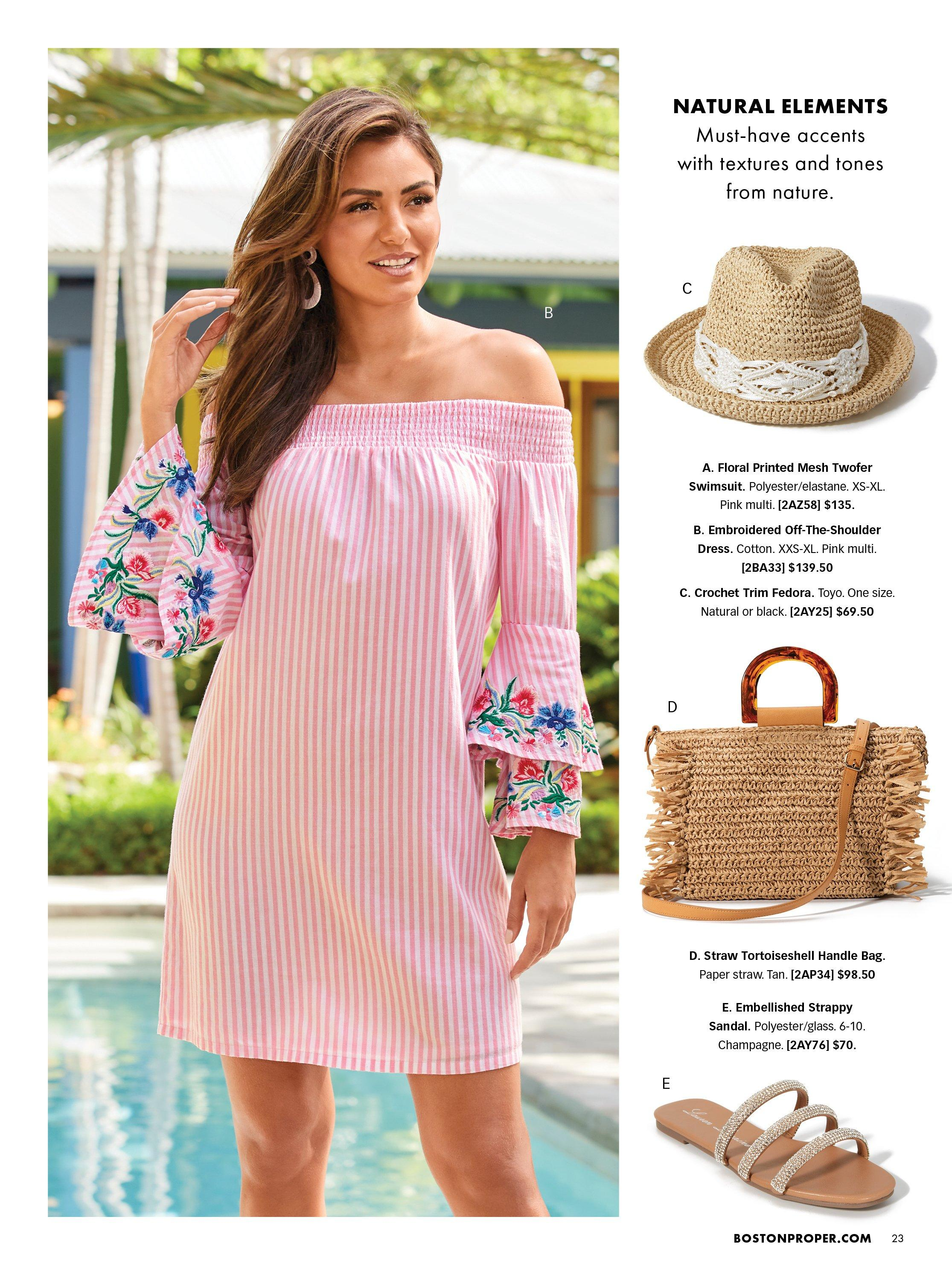 model wearing a pink off-the-shoulder floral embroidered dress. right panel shows a straw and lace hat, straw handbag, and embellished strappy sandals.