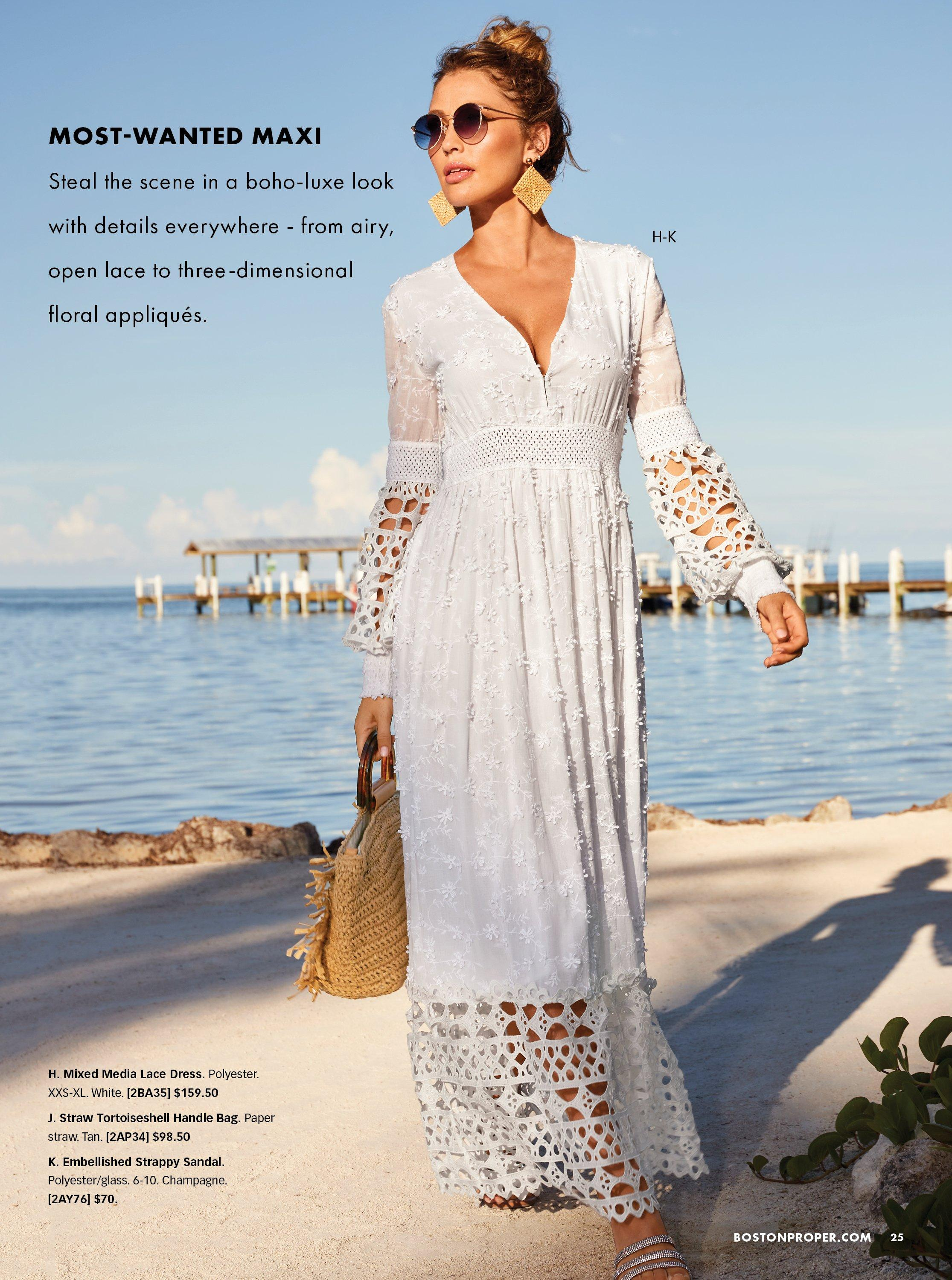 model wearing a lace and crochet white long sleeve maxi dress and holding a straw bag.