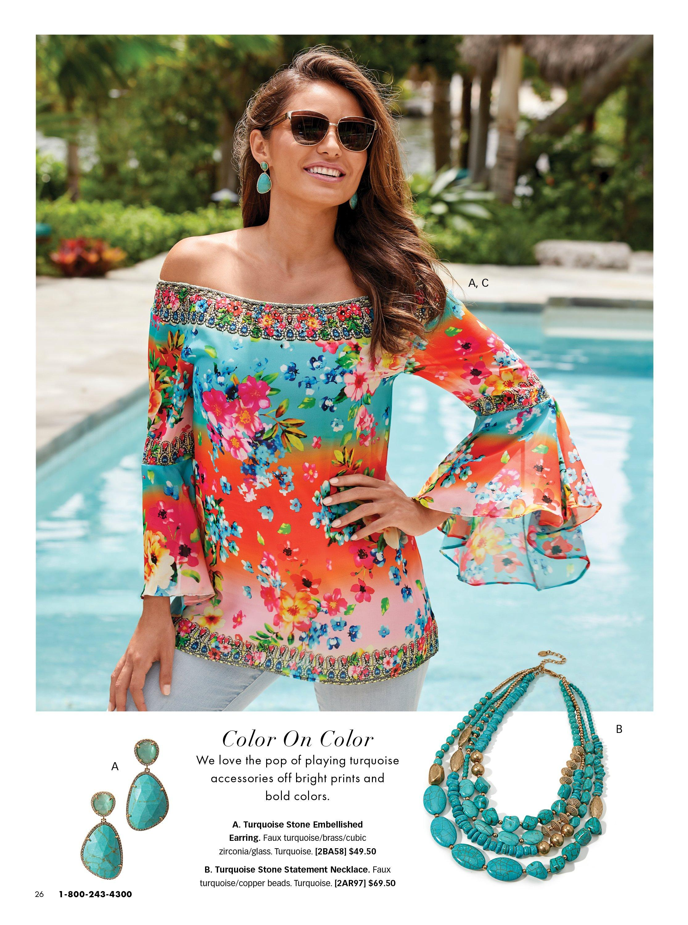 model wearing a multicolored off-the-shoulder flare sleeve floral top, turquoise earrings, and jeans. also shown: turquoise earrings and turquoise necklace.