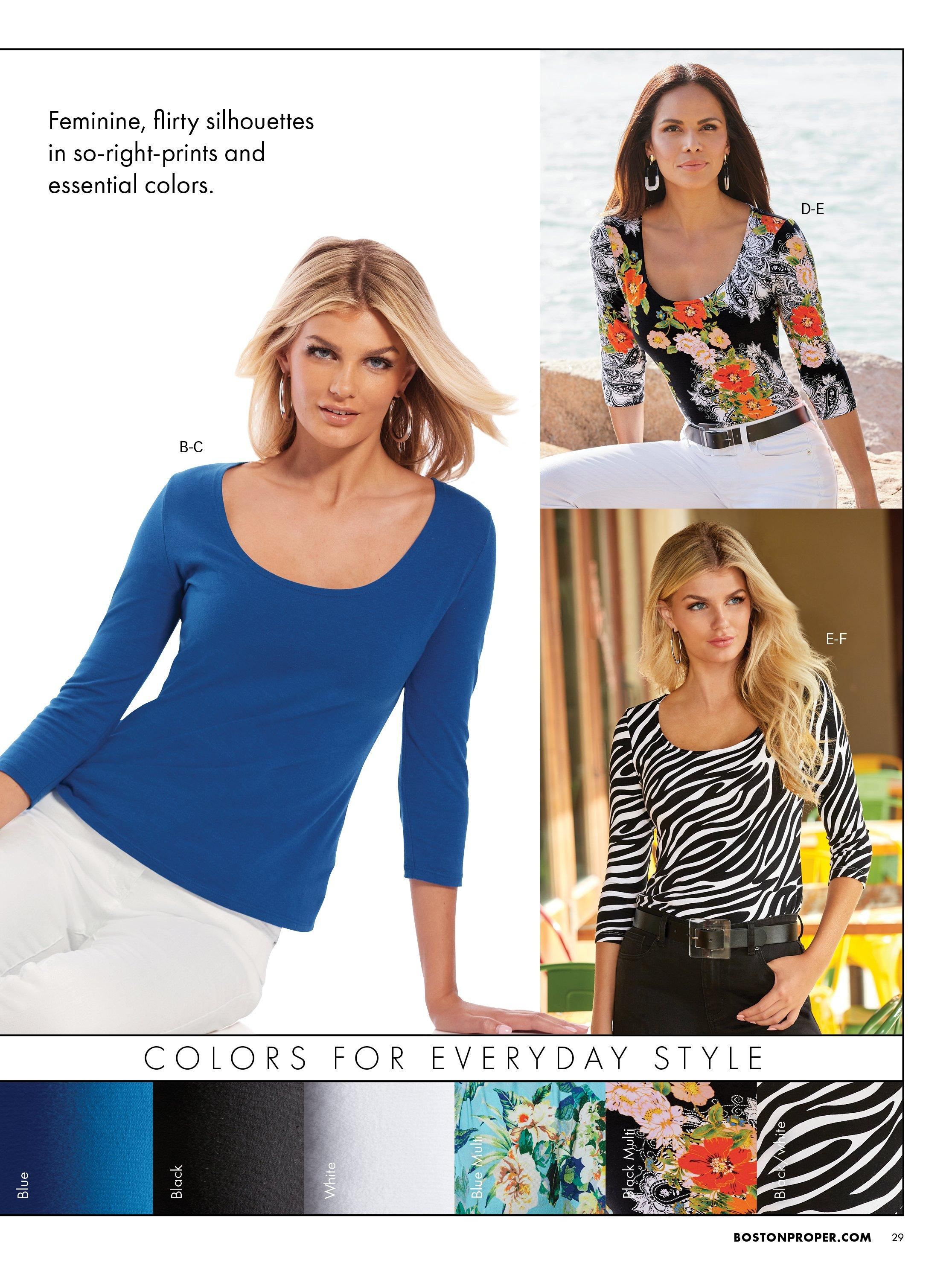 left model wearing a blue scoop neck three-quarter sleeve top and white pants. top right model wearing a floral print scoop neck three-quarter sleeve top and white pants. bottom right model wearing a zebra print scoop neck three-quarter sleeve top and black pants.