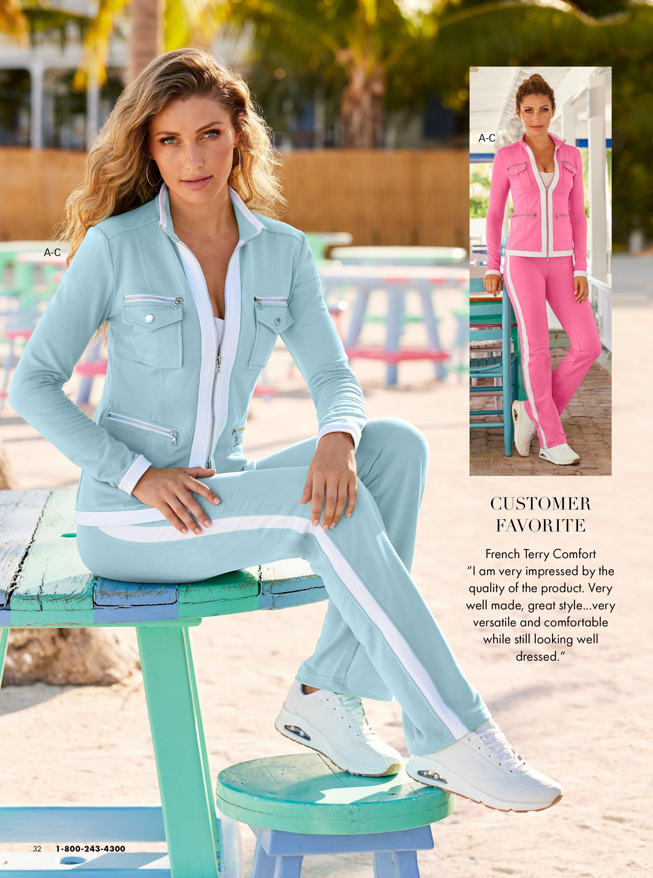 left model wearing a light blue two-piece chic zip set and white sneakers. same jumpsuit shown in pink on the right.