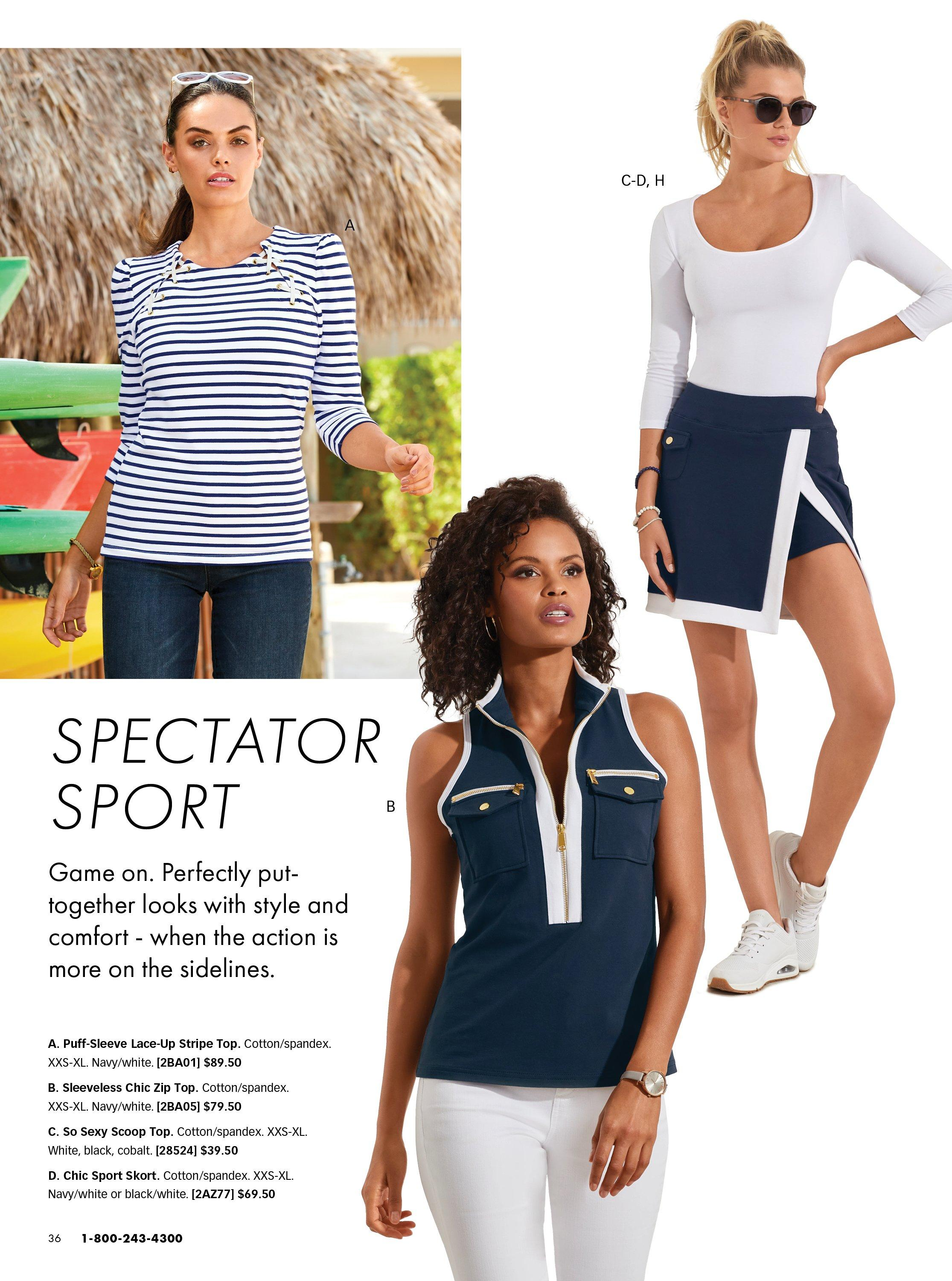 left model wearing a blue and white striped long sleeve top and jeans. middle model wearing a navy sleeveless sport zip top and white pants. right model wearing a white scoop neck three-quarter sleeve top , navy and white sport skort, and white sneakers.