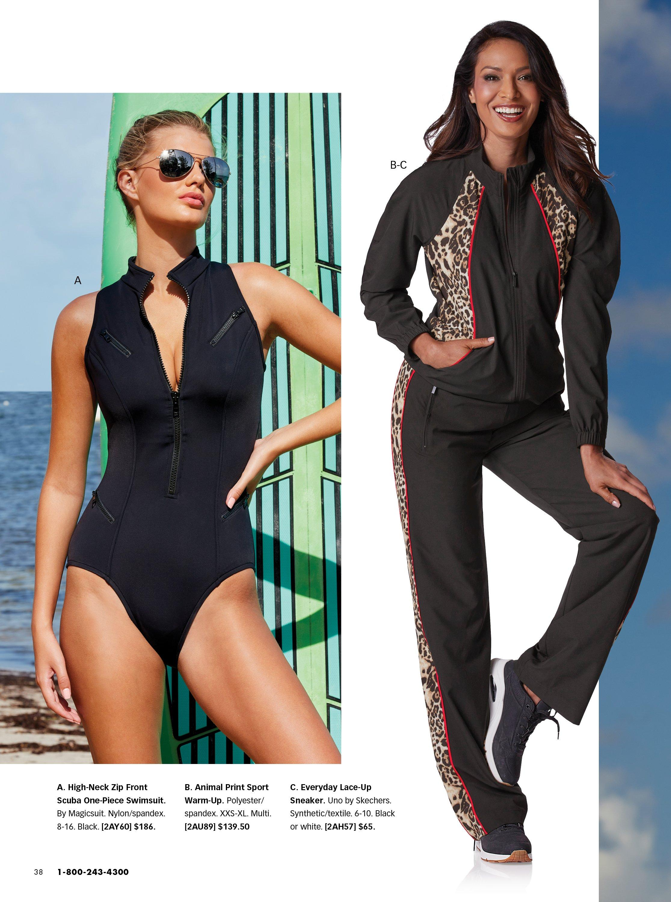 left model wearing a black scuba zip front one-piece swimsuit. right model wearing a black and leopard print two-piece warm up and black sneakers.