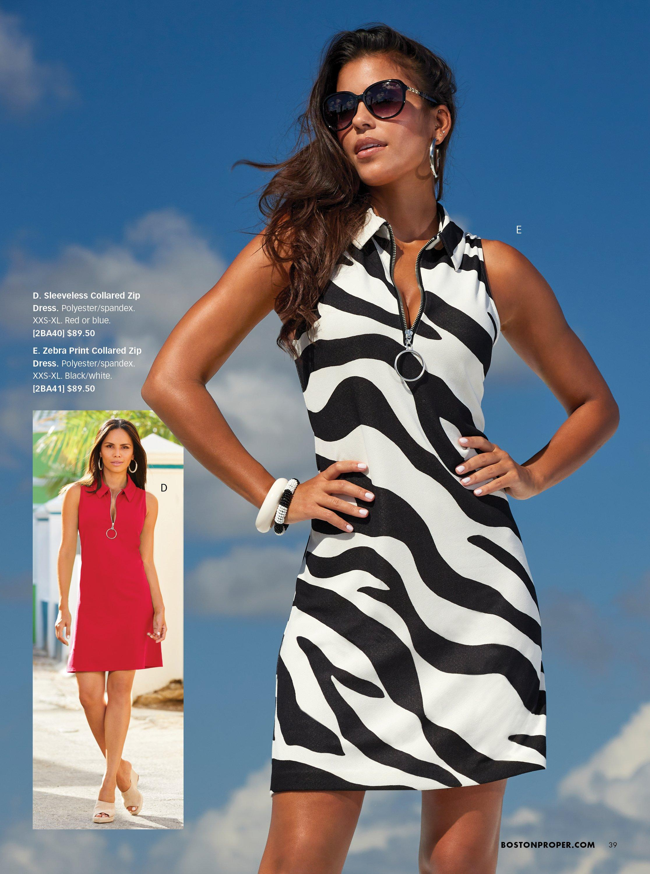 left model wearing a red sleeveless collared dress. right model wearing a black and white striped sleeveless collared dress.