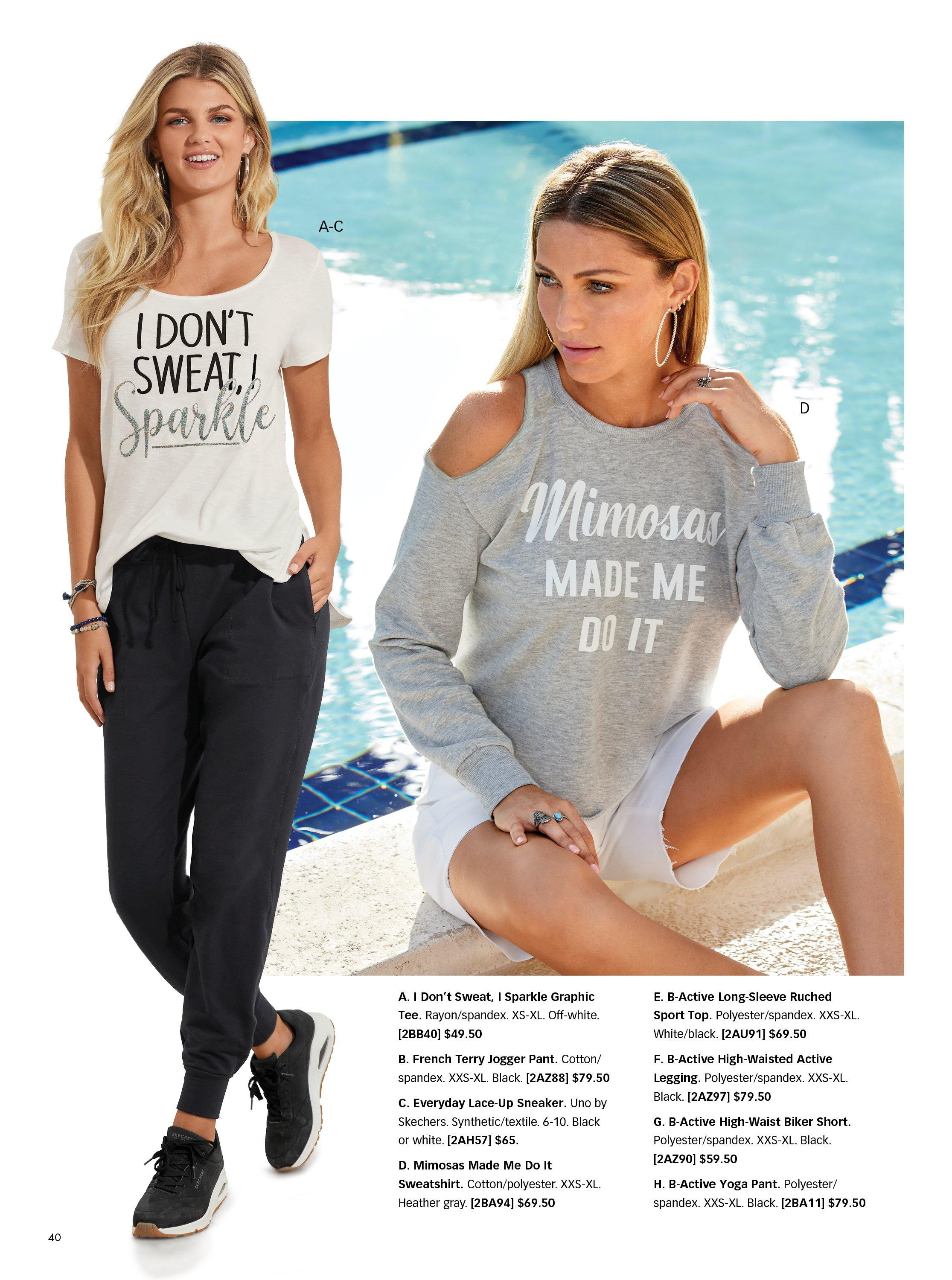 left model wearing a white short sleeve graphic tee, black joggers, and black sneakers. right model wearing a gray long-sleeve cold-shoulder graphic tee with white shorts.