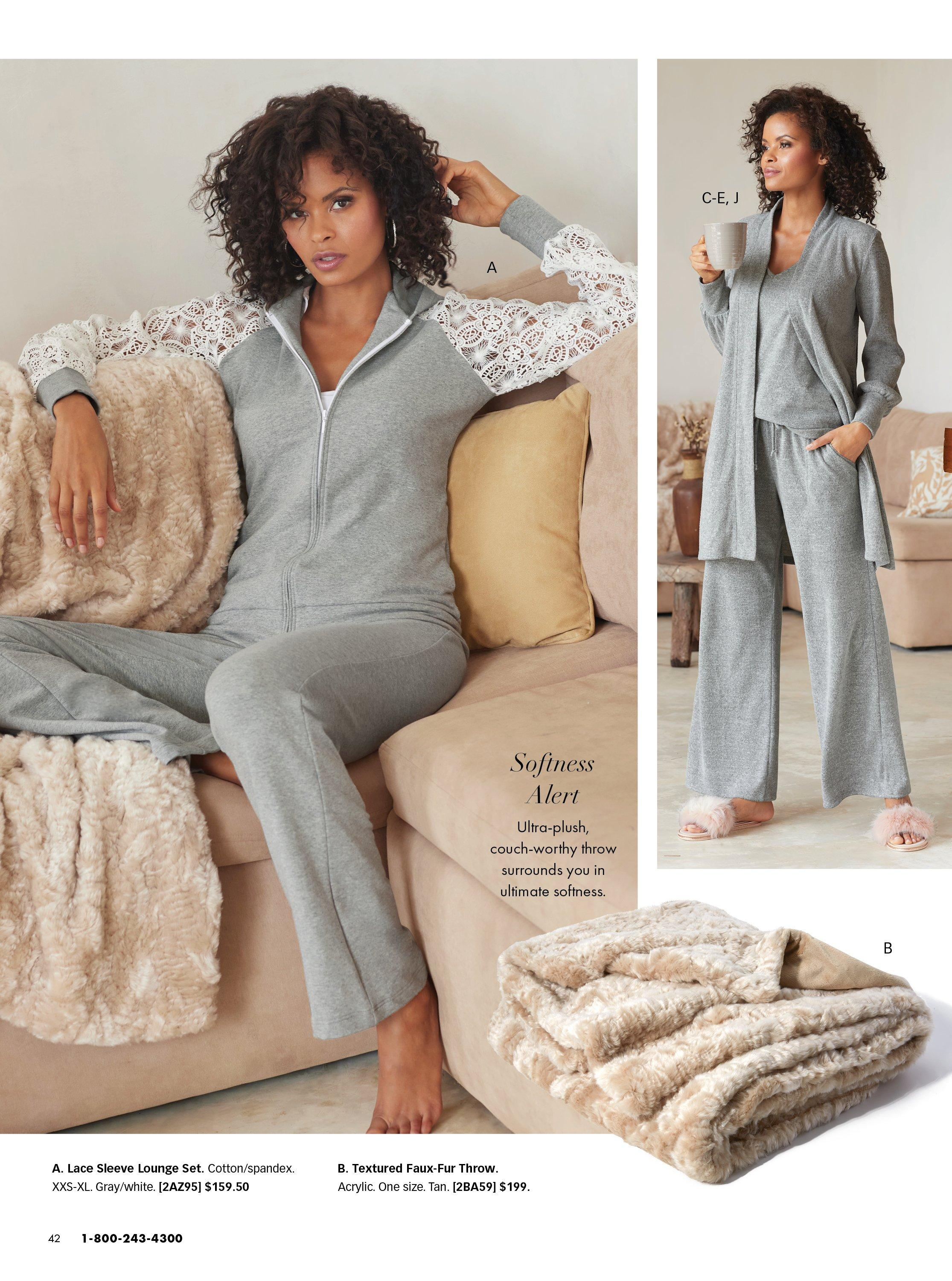 left model wearing a gray two-piece set with white lace sleeves. right model wearing gray duster, gray ribbed tank top, and gray sweatpants with faux fur slippers. also shown: oatmeal faux fur throw.