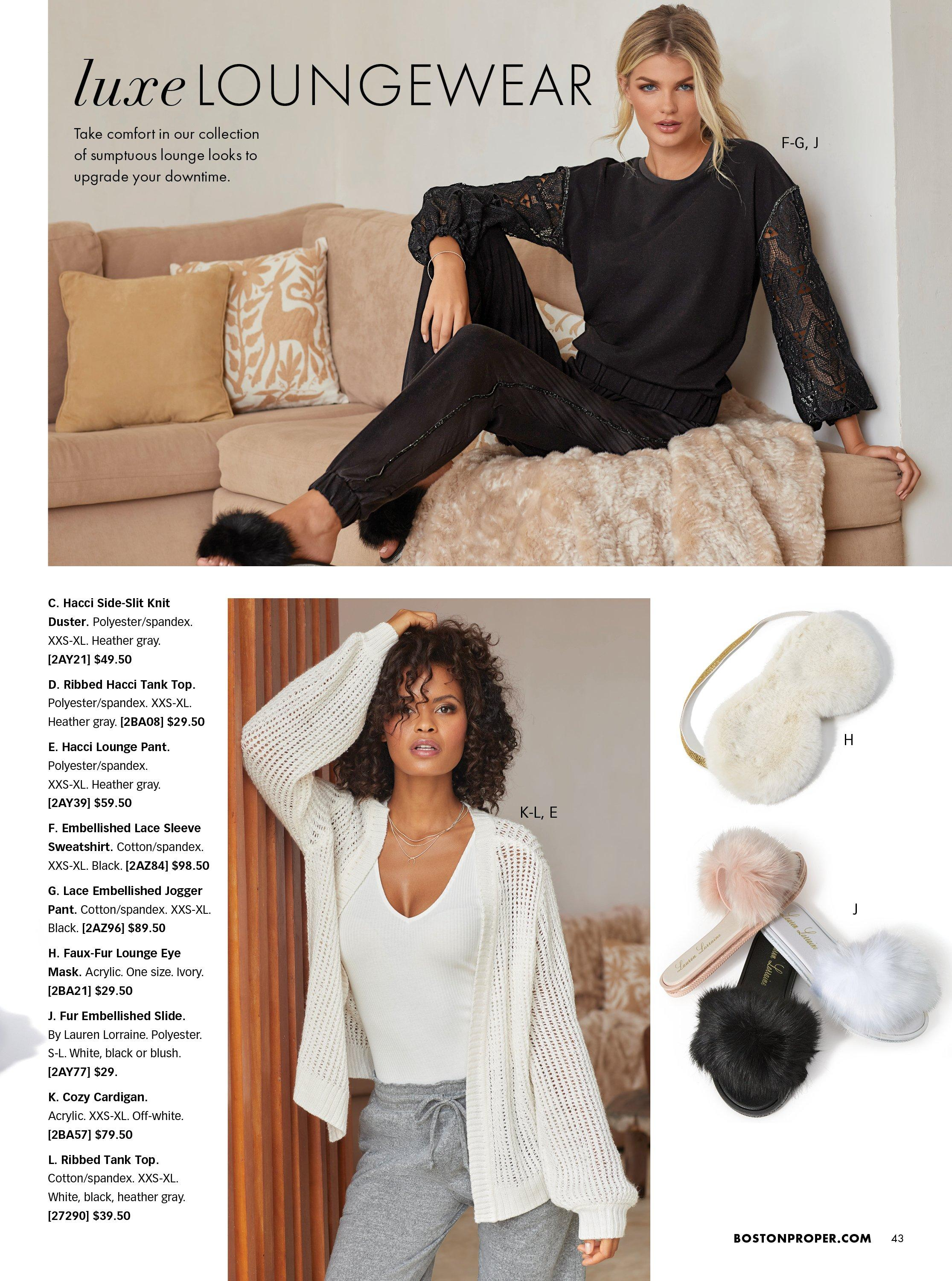 top model wearing a black sweater with lace sleeves, black lace pants, and black faux fur slippers. bottom model wearing a white crochet duster, white ribbed tank top, and gray sweatpants. also shown: slippers in white, black, and pink and white faux fur eye mask.