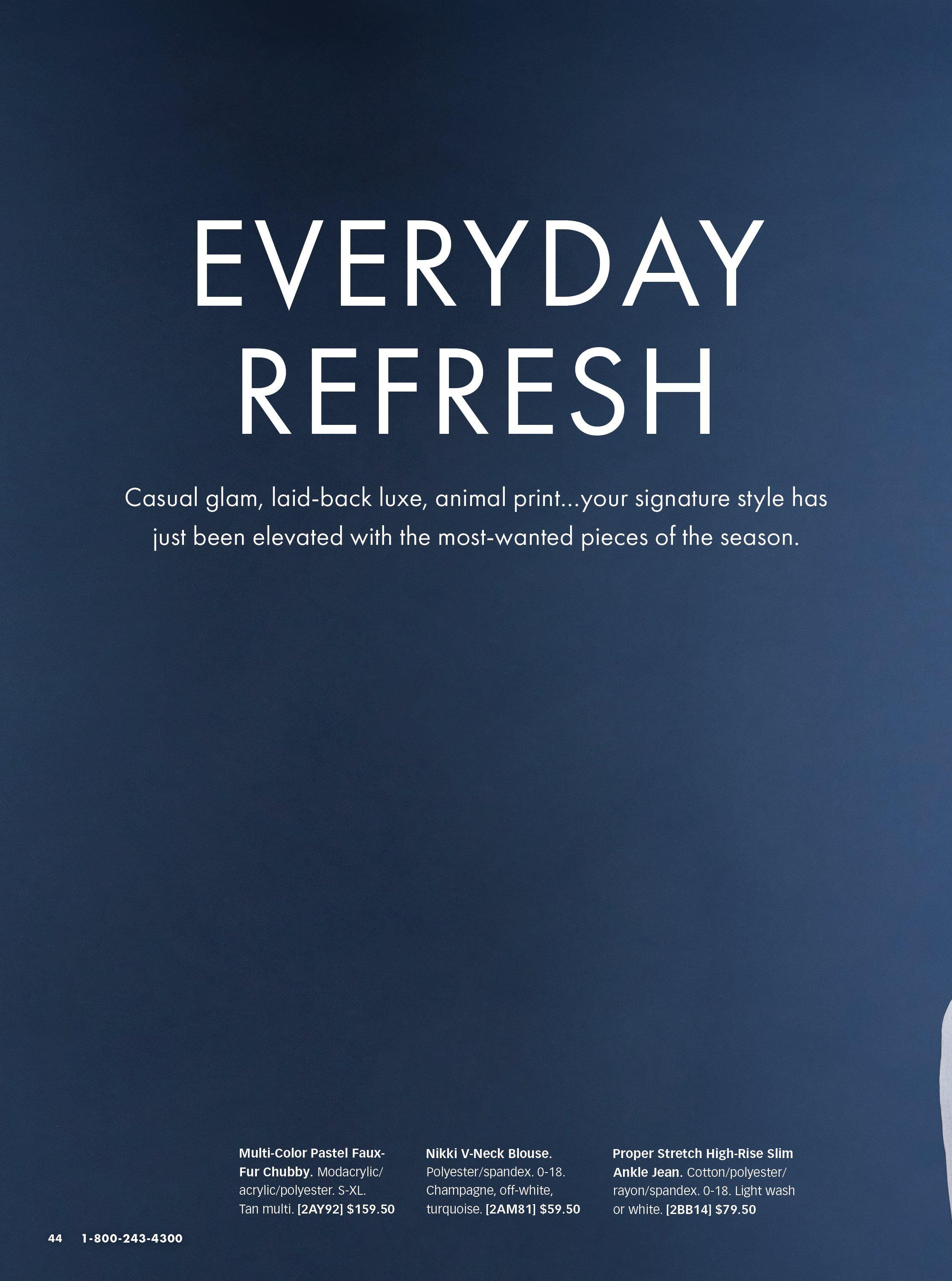 white text on blue background: everyday refresh