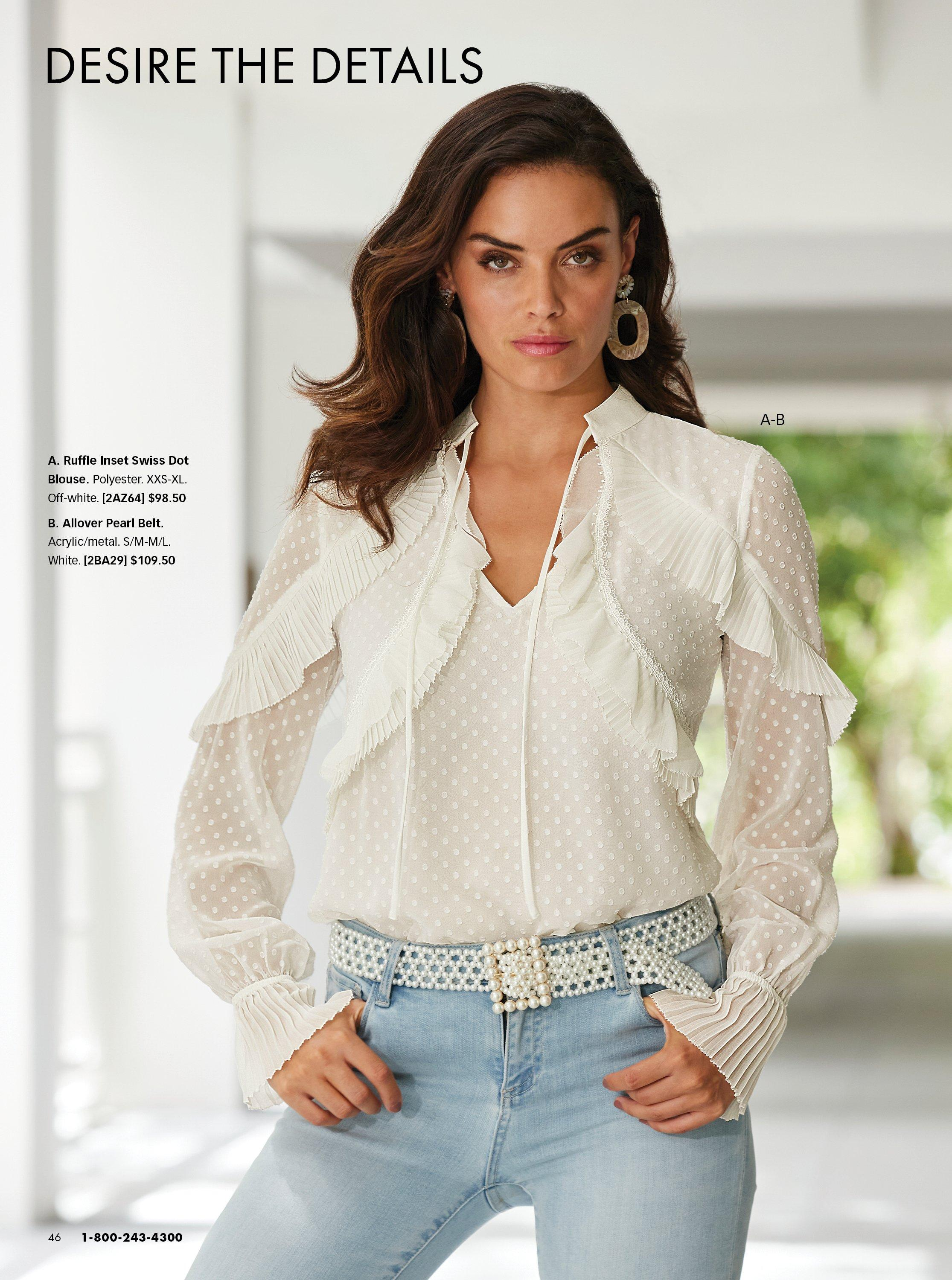 model wearing a white ruffle long sleeve top, pearl embellished belt, and jeans.